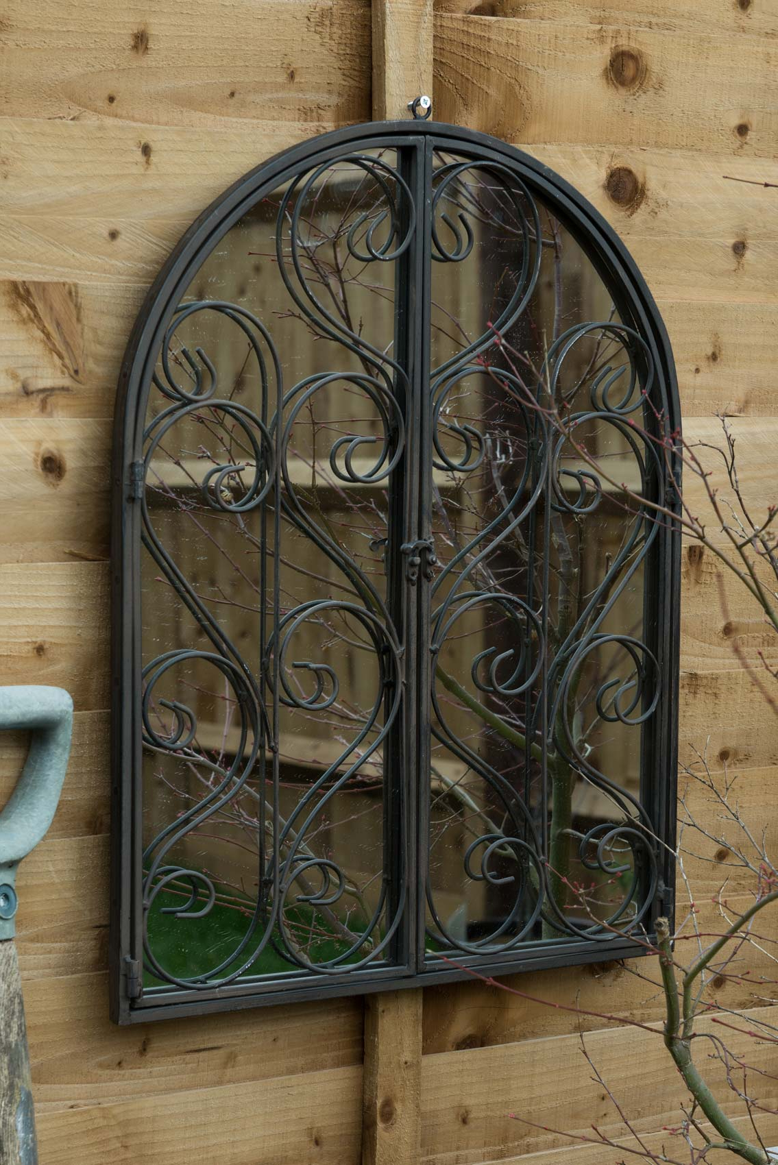 Details About Large Scroll Outdoor Garden Wall Mirror With Hinged Doors 60cm X 48cm Pertaining To Most Current Hinged Wall Mirrors (View 15 of 20)