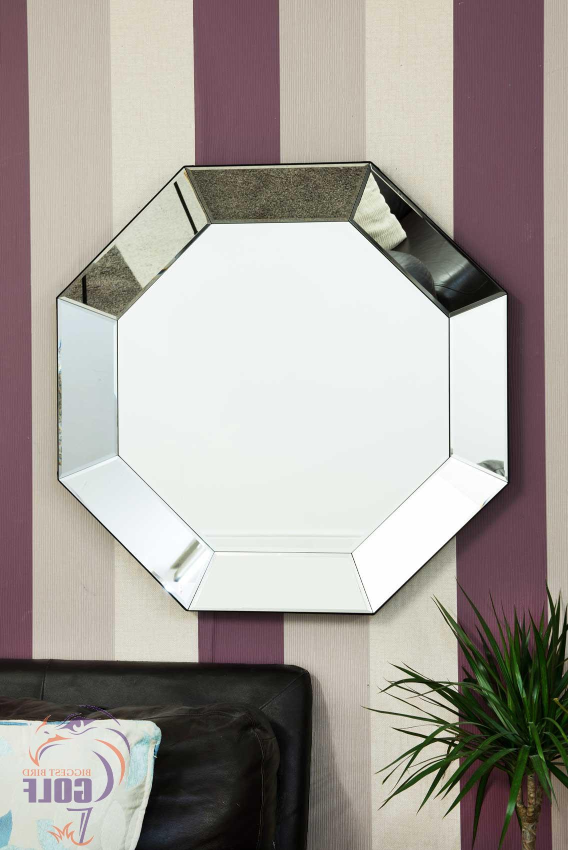 Details About Large Tray Effect All Mirror Glass Octagon Wall Mirror 90Cm Regarding Widely Used Glass Wall Mirrors (View 15 of 20)