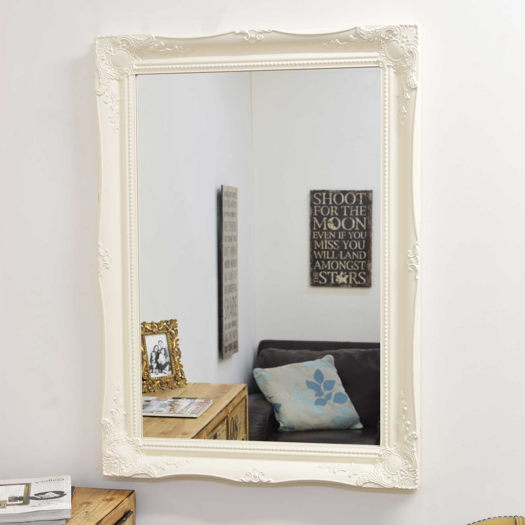 Details About Large Wall Mirror 3Ft X 2Ft2 91Cm X 66Cm White Ornate Antique Design Intended For Well Liked Large White Wall Mirrors (View 20 of 20)