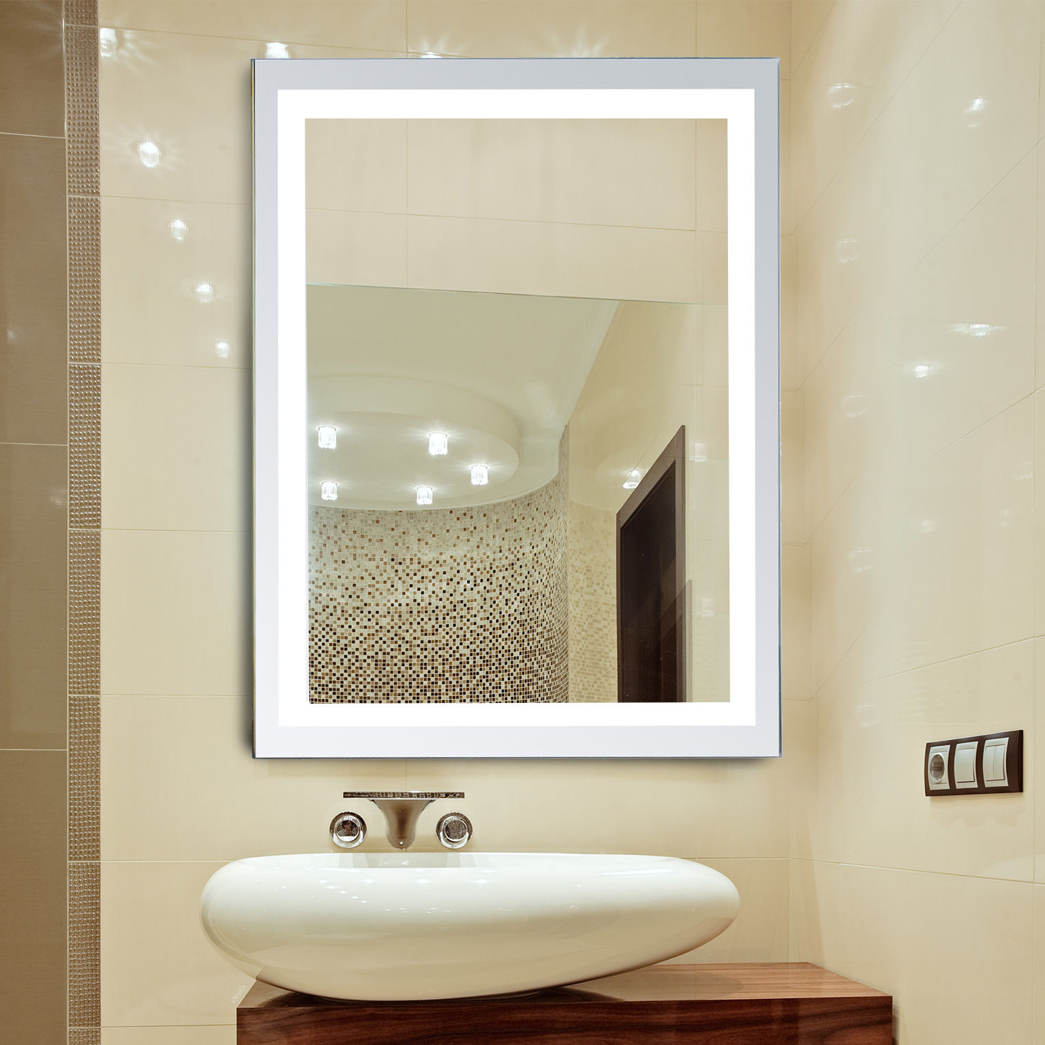Details About Led Illuminated Bathroom Wall Mirrors With Lights Modern  Makeup Vanity Mirror Intended For Fashionable Illuminated Wall Mirrors For Bathroom (View 5 of 20)