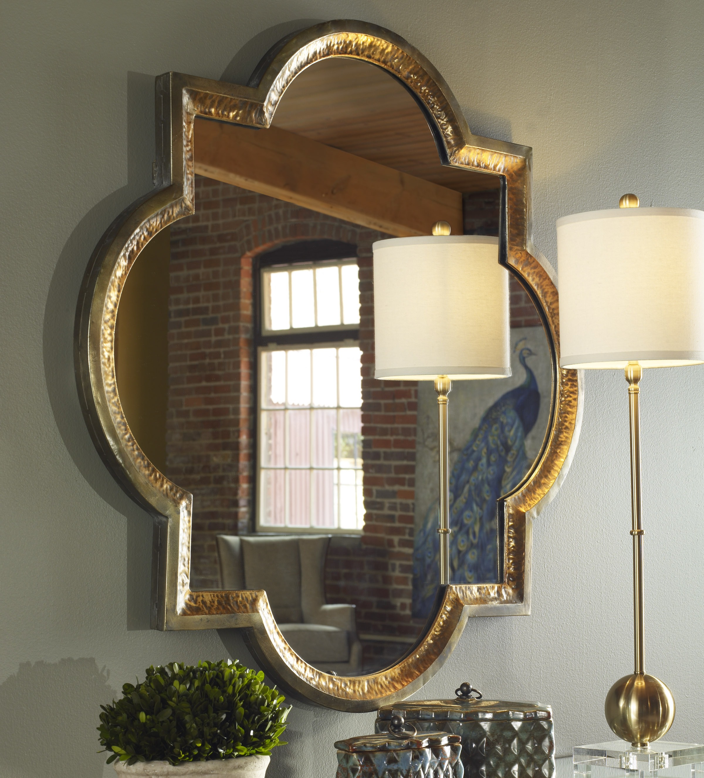"""Details About Quatrefoil Hammered Metal Copper Gold Wall Mirror Large 40"""" Boho Chic Horchow In Newest Quatrefoil Wall Mirrors (View 5 of 20)"""