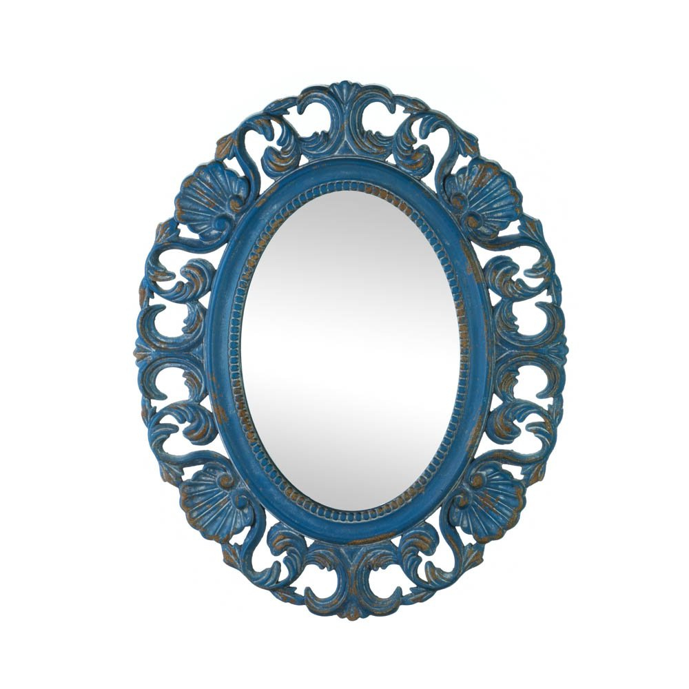 Details About Wall Mirrors For Bedroom, Large Ornate Wall Mirror Antique Mdf Wood Frame Blue With Regard To Popular Blue Wall Mirrors (View 4 of 20)