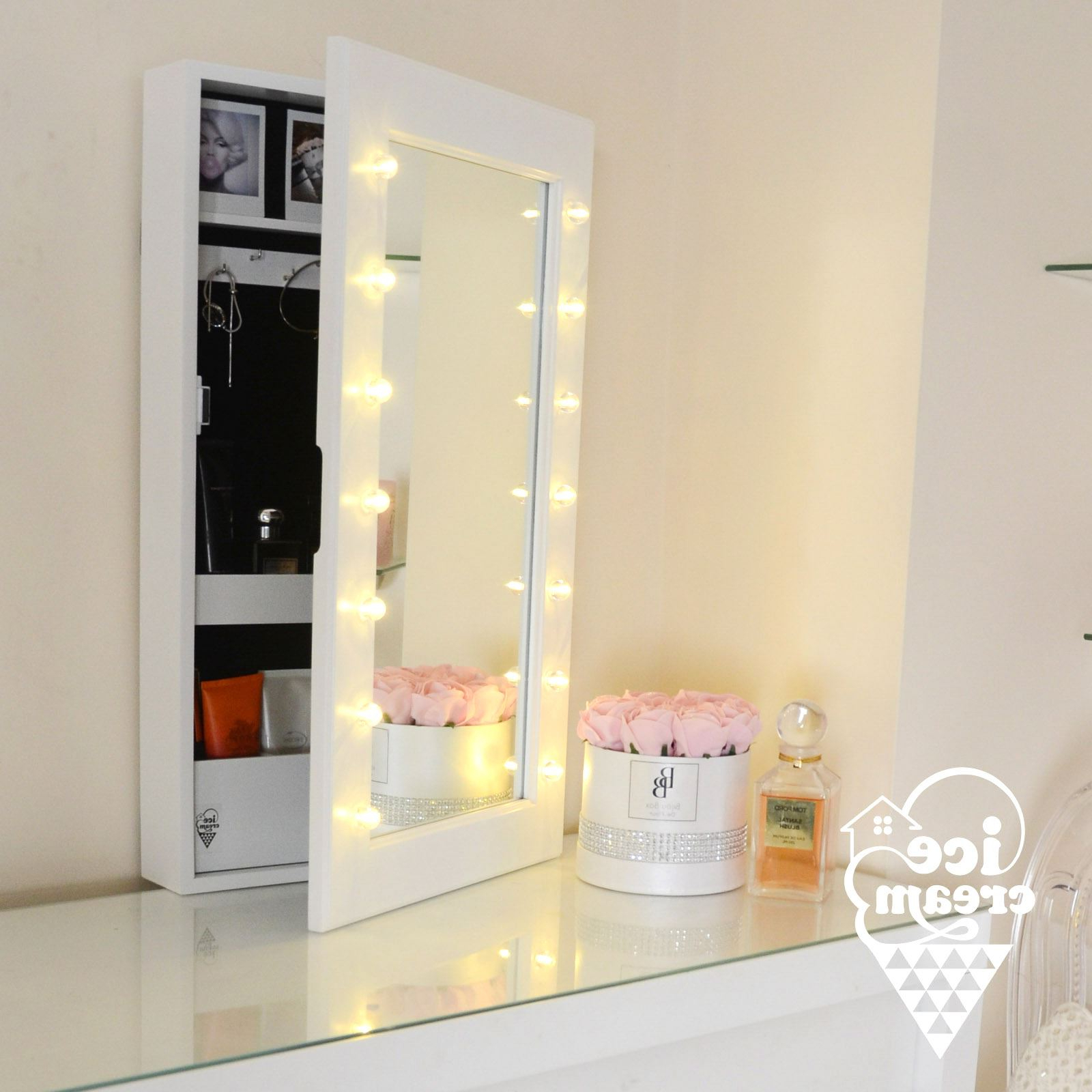Details About White Desktop / Wall Mounted Jewellery Mirror Cabinet With Led Lights Storage Intended For Popular Wall Mirrors With Storages (View 4 of 20)