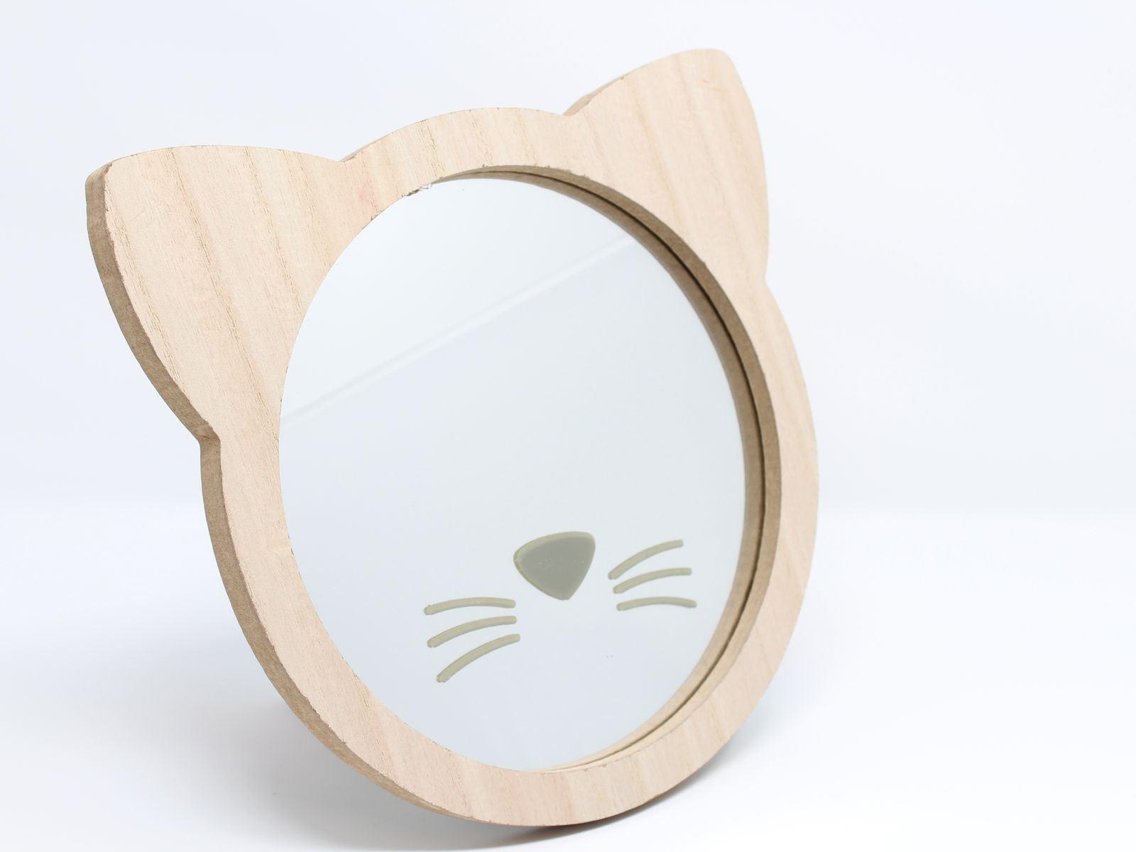 Details About Wooden Cat Face Children's Wall Mirror Nursery 23cm Inside Most Popular Childrens Wall Mirrors (View 10 of 20)