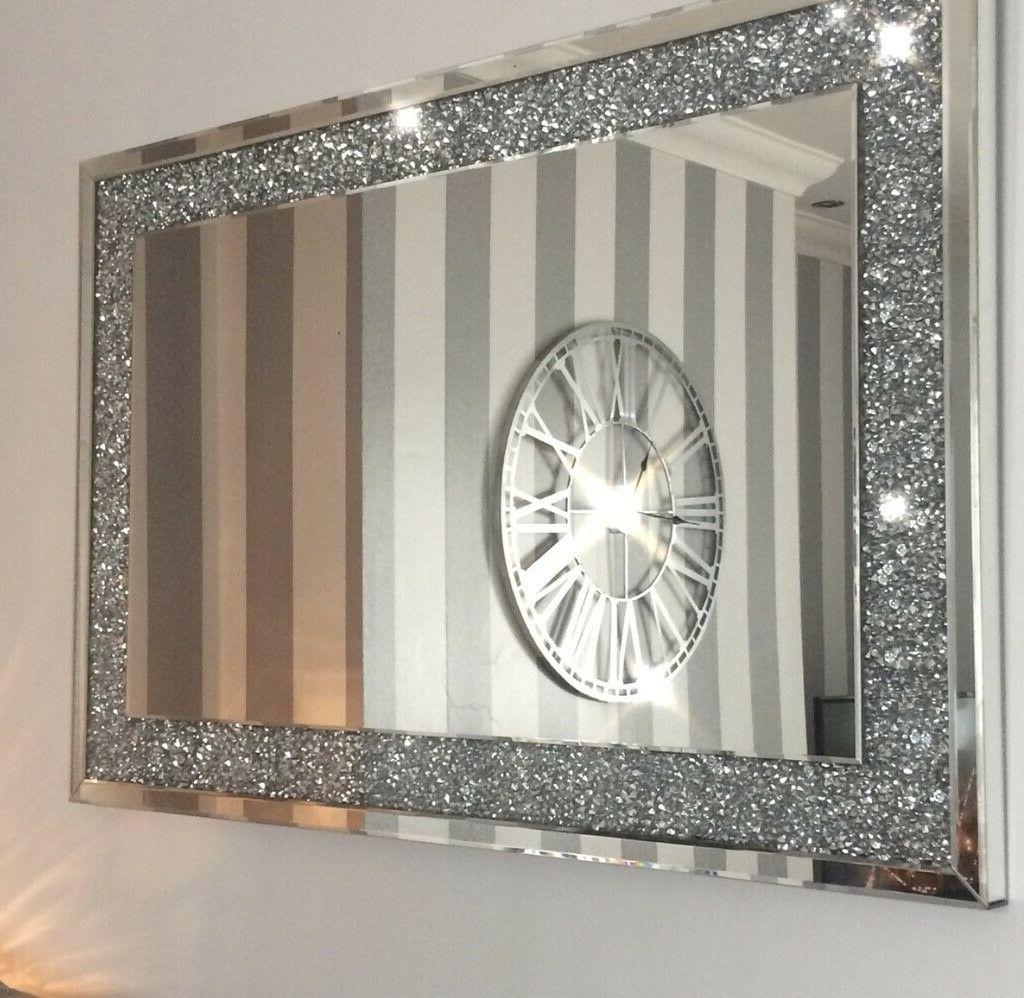 Diamond Crush Crystal Effect Large Silver Wall Mirror 120X80Cm Elegant  Bling – Crushed Diamond (View 5 of 20)
