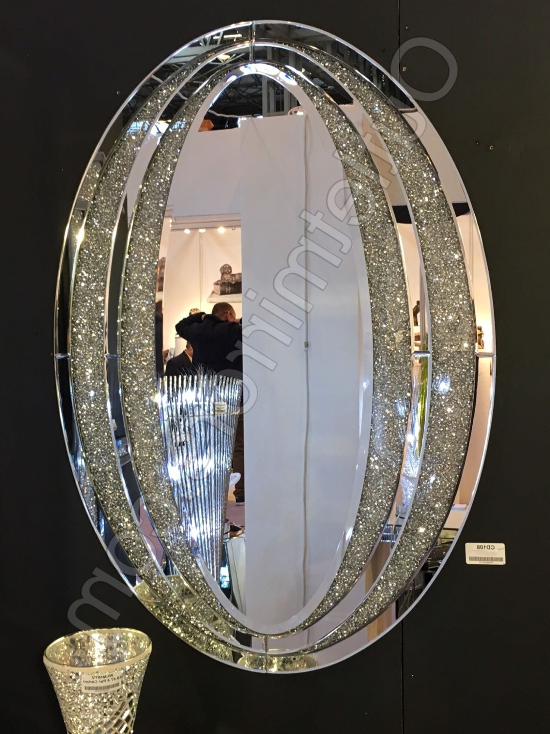 Diamond Crush Sparkle Oval Wall Mirror Item In Stock In 2019 Throughout Most Current Sparkle Wall Mirrors (Gallery 7 of 20)