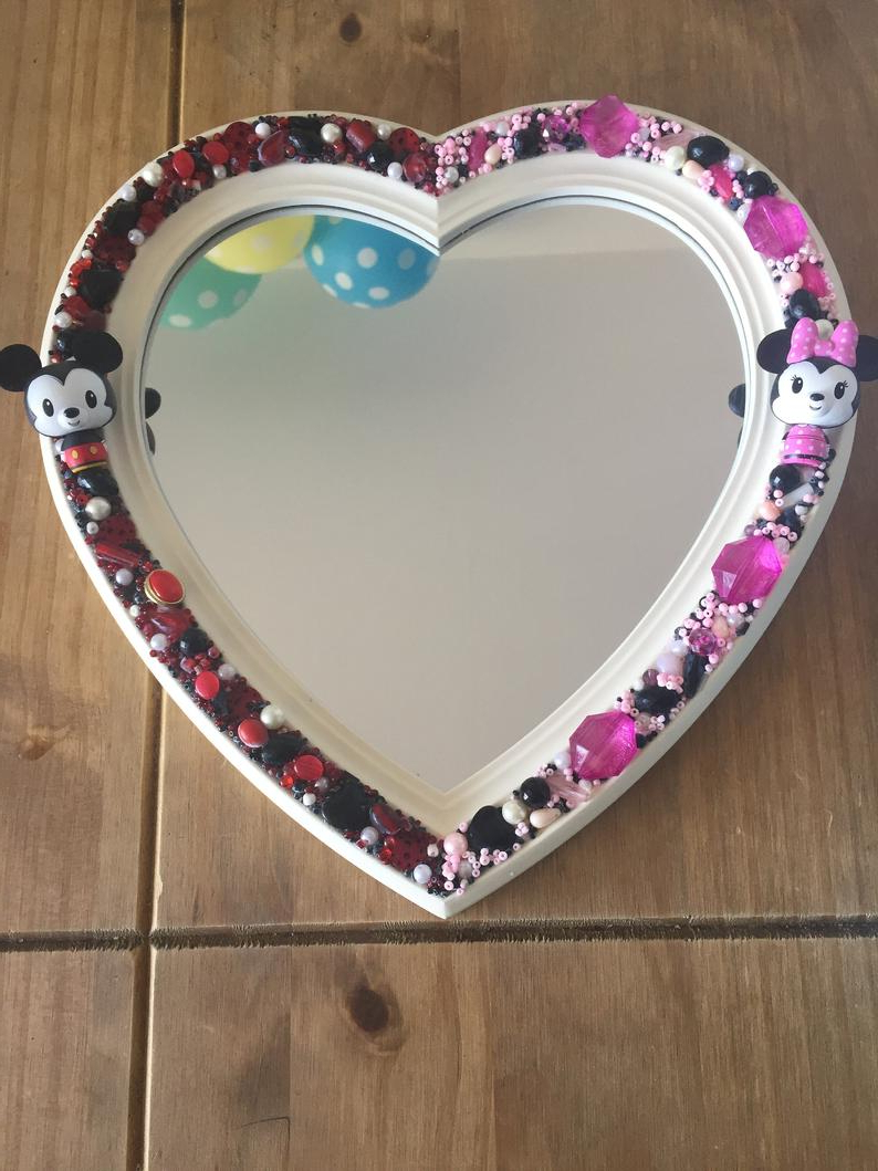 Disney Wall Mirrors With Most Up To Date Disney Mickey&minnie Heart Shaped Wall Mirror – Decorative Bedroom Mr And Mrs Handcrafted (View 2 of 20)