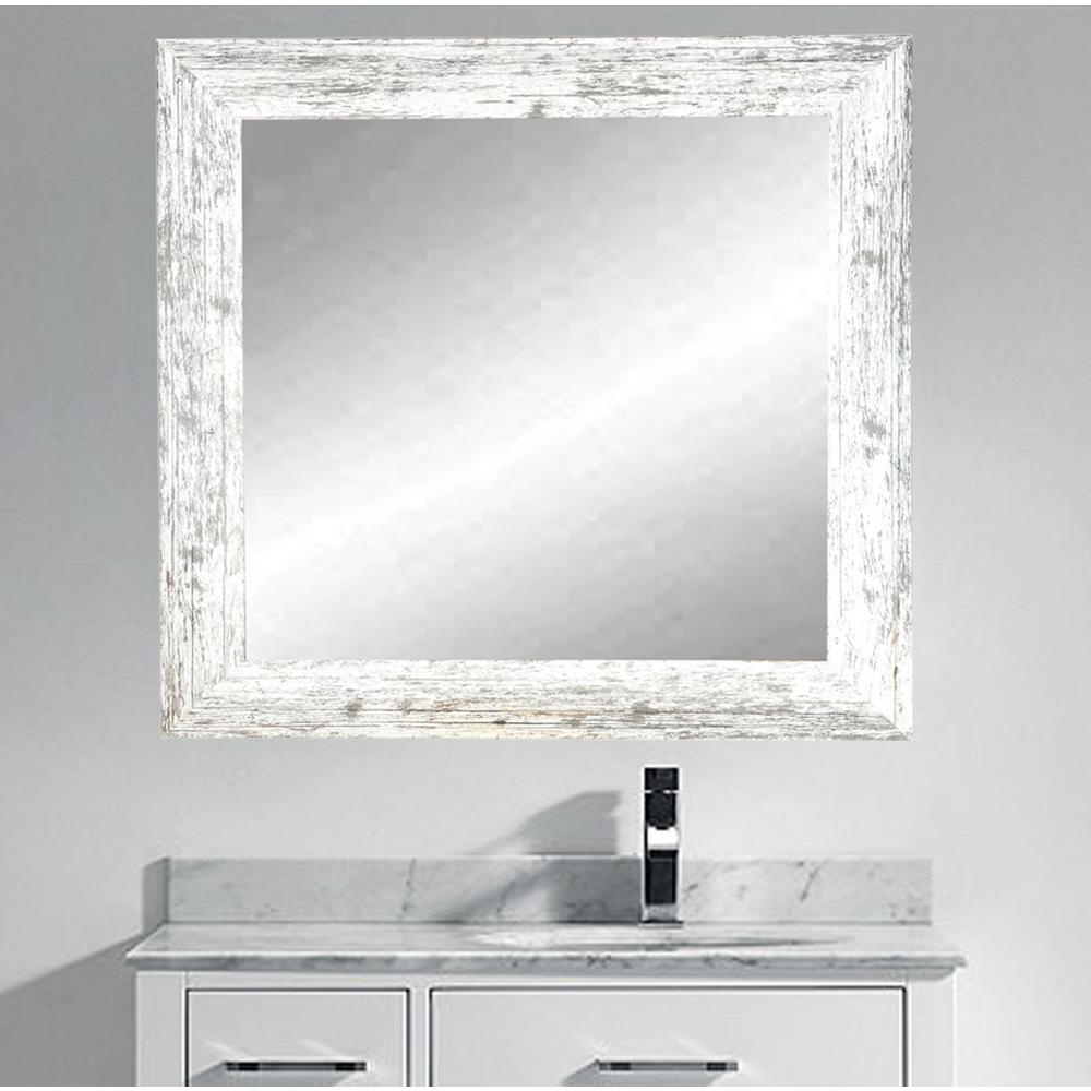 Distressed White Wall Mirrors With Regard To Most Recent Brandtworks Distressed White Barnwood Wall Mirror Bm032sq (View 11 of 20)