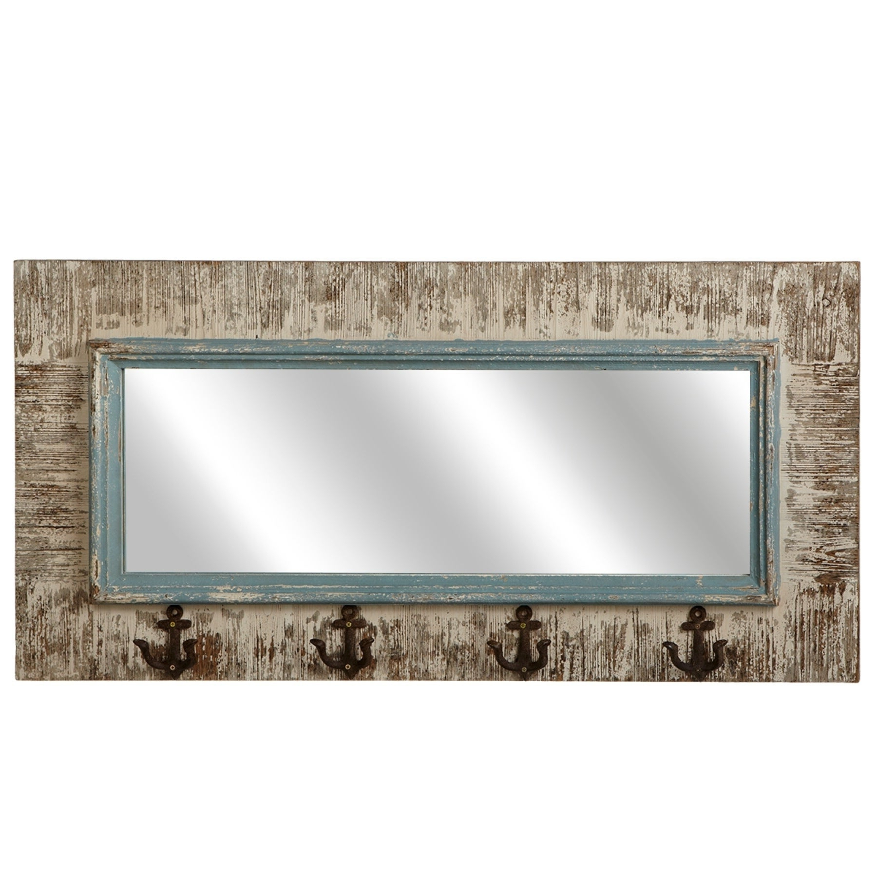 Distressed Wood Wall Mirrors Inside Preferred Midwest Cbk Multicolored Distressed Wood Medium Rectangular Wall Mirror  With Anchor Hooks (View 9 of 20)