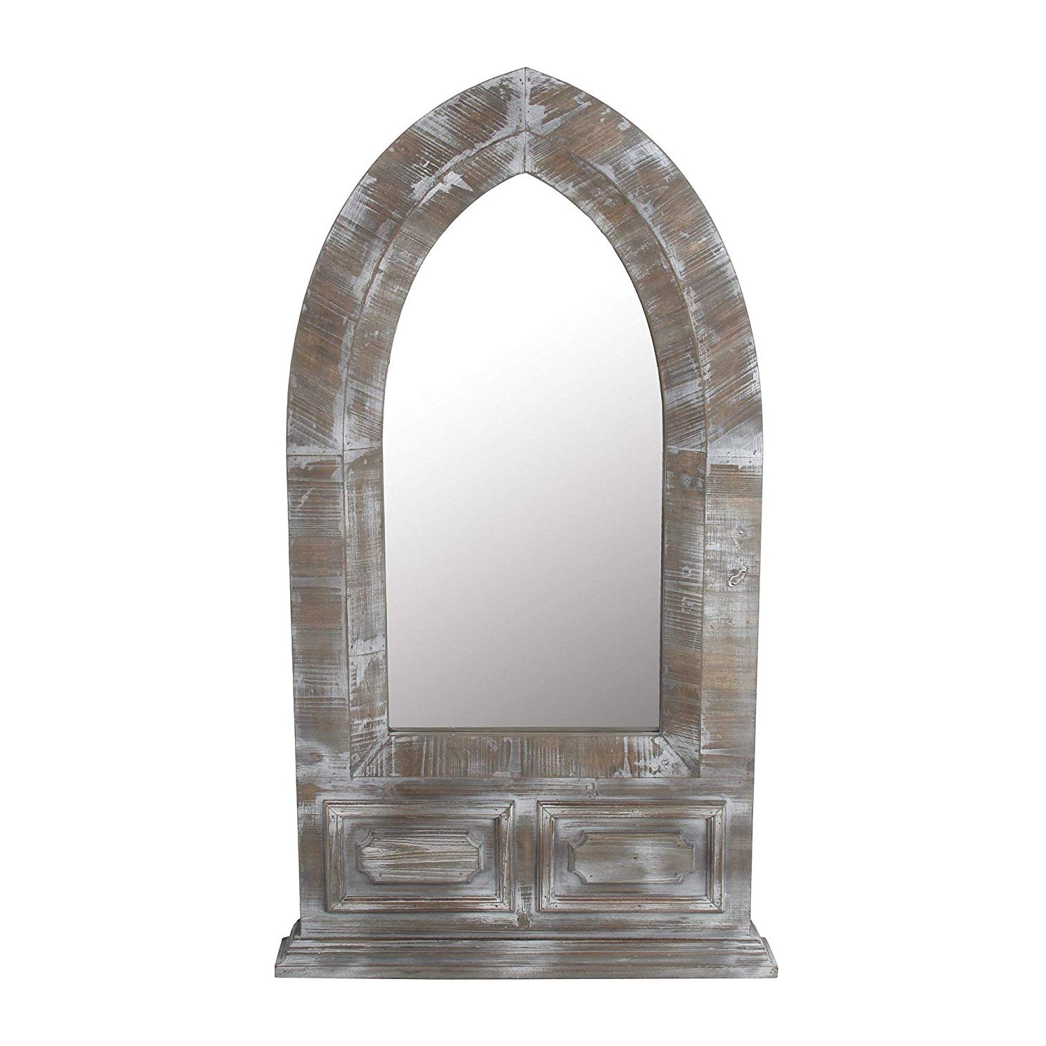 Distressed Wood Wall Mirrors Intended For Preferred Amazon: Privilege Distressed Wood Dome Wall Mirror: Home (View 11 of 20)
