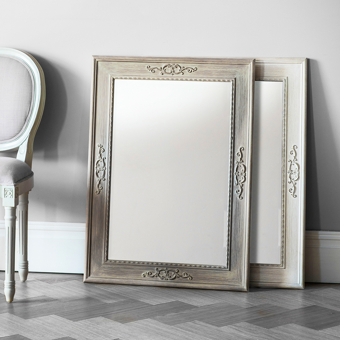 Distressed Wood Wall Mirrors Regarding Preferred Decorative Rectangular Wooden Wall Mirrors – White Or Limed Oak (View 13 of 20)