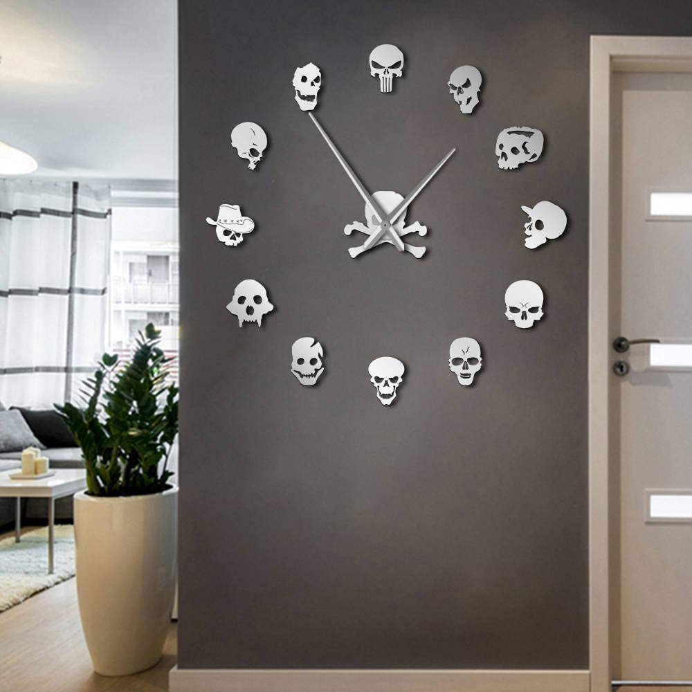 Diy Large Wall Mirror In Preferred The Geeky Days Skull Heads Giant Diy Large Wall Clock With Mirror Effect Wall Art Home Decor Frameless Big Time Clock Watch(Silver) (View 2 of 20)