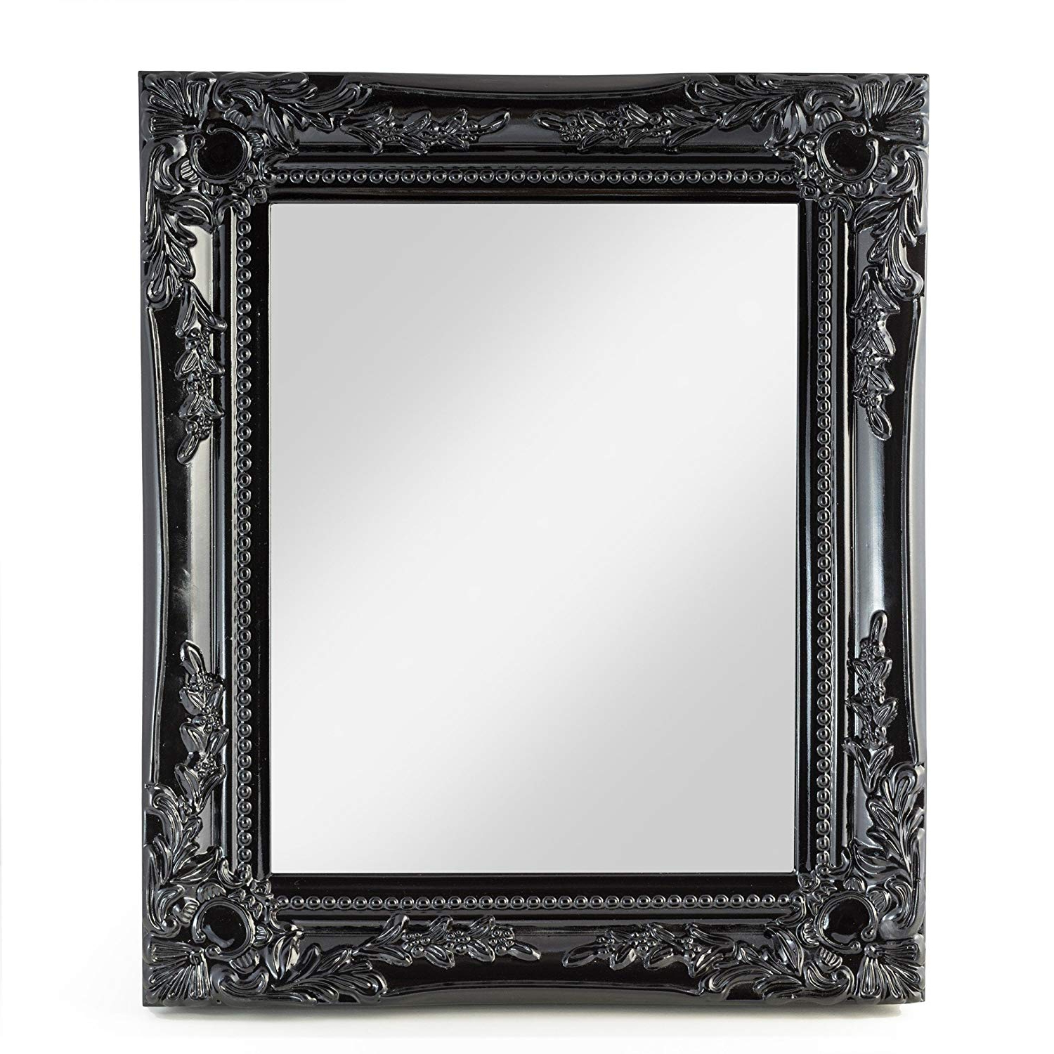Elbmoebel Wall Mirror Shabby Chic Antique Style Ornate Black Silver White –  Large 33X27X3 Cm (Black) Regarding Famous Large Black Wall Mirrors (View 6 of 20)