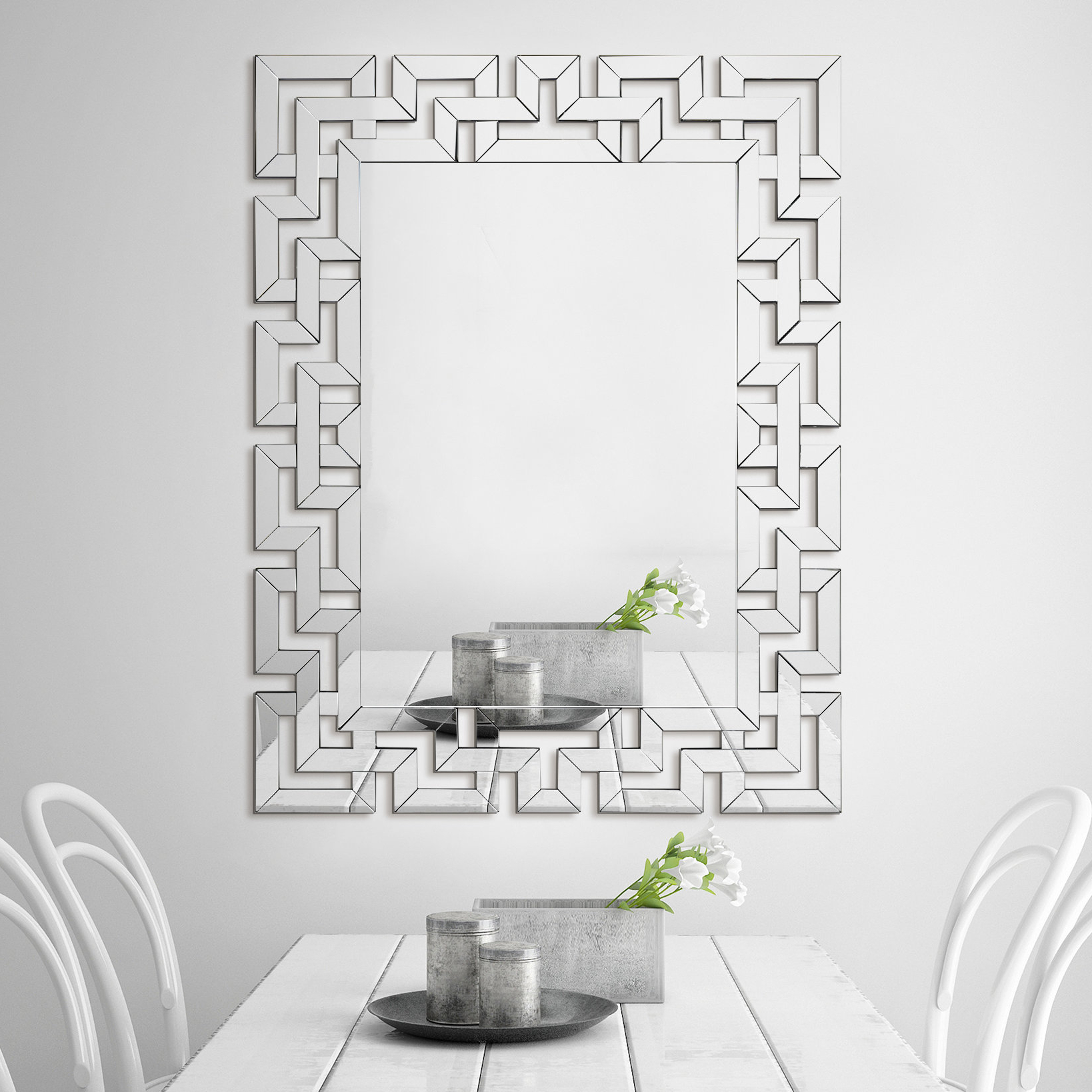 Elegant Wall Mirrors Regarding Current Bagley Elegant Beveled Geometry Wall Mirror (Gallery 1 of 20)