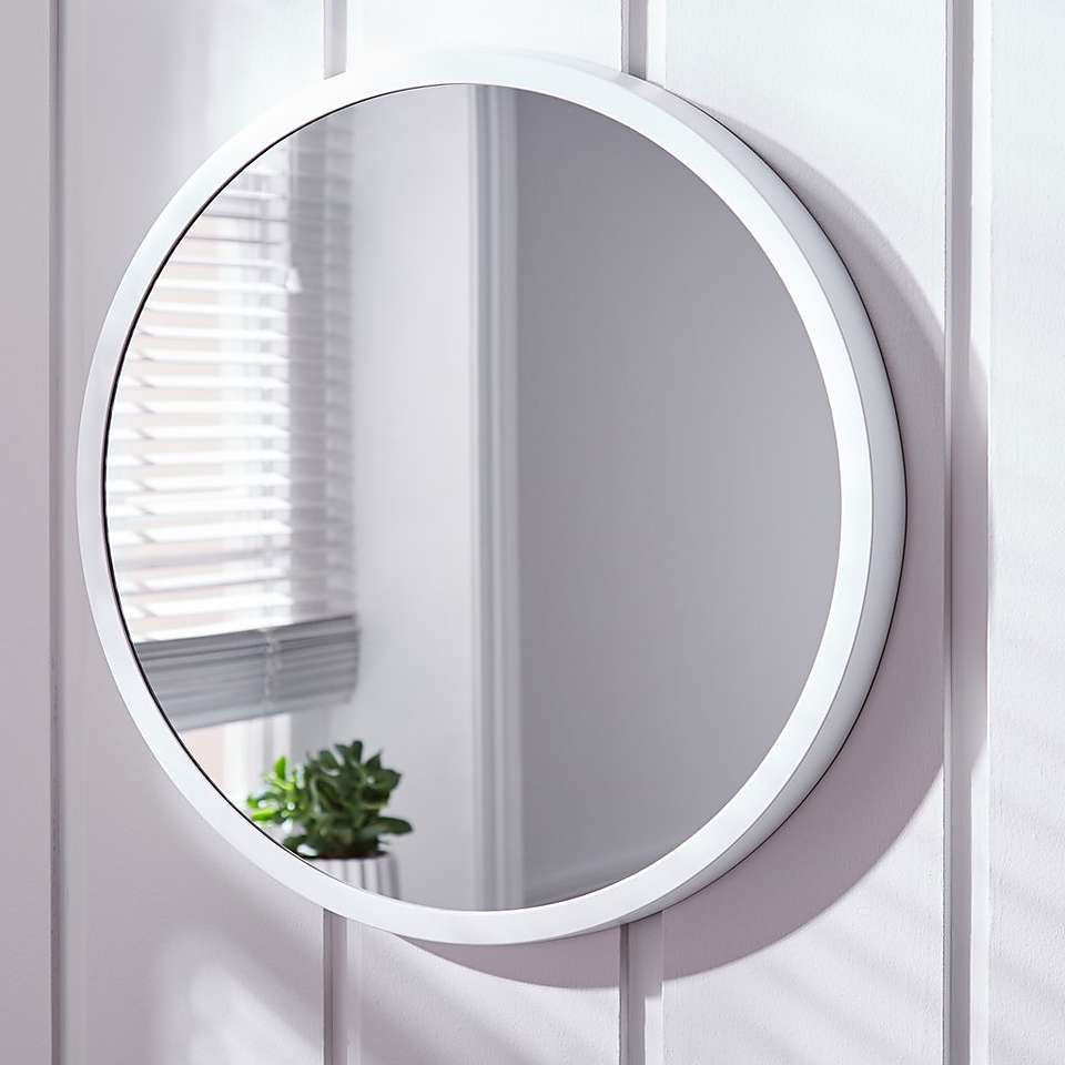 Elements White Round Wall Mirror In (View 4 of 20)