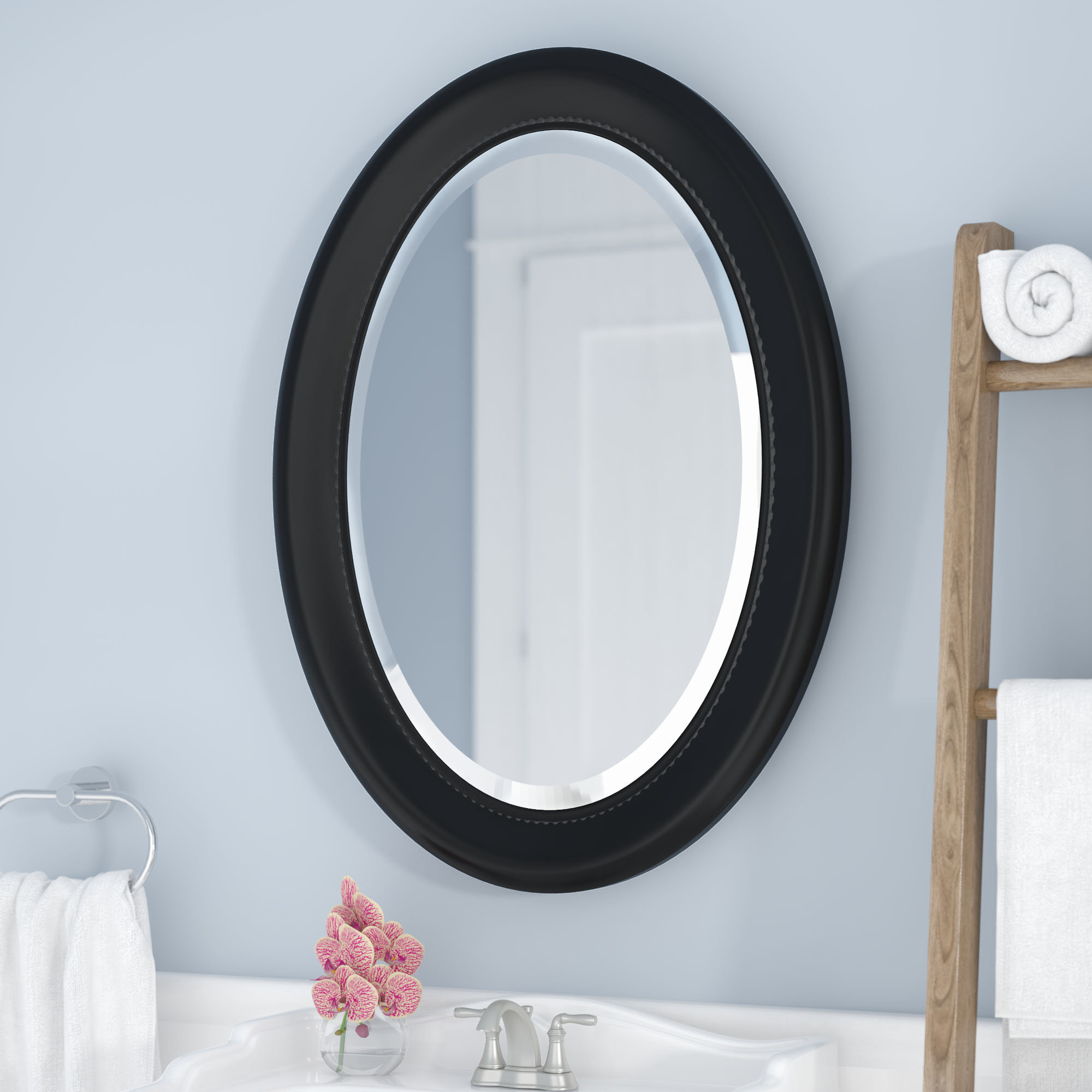 Elenor Oval Wall Mounted Accent Mirror Pertaining To Fashionable Pfister Oval Wood Wall Mirrors (View 17 of 20)