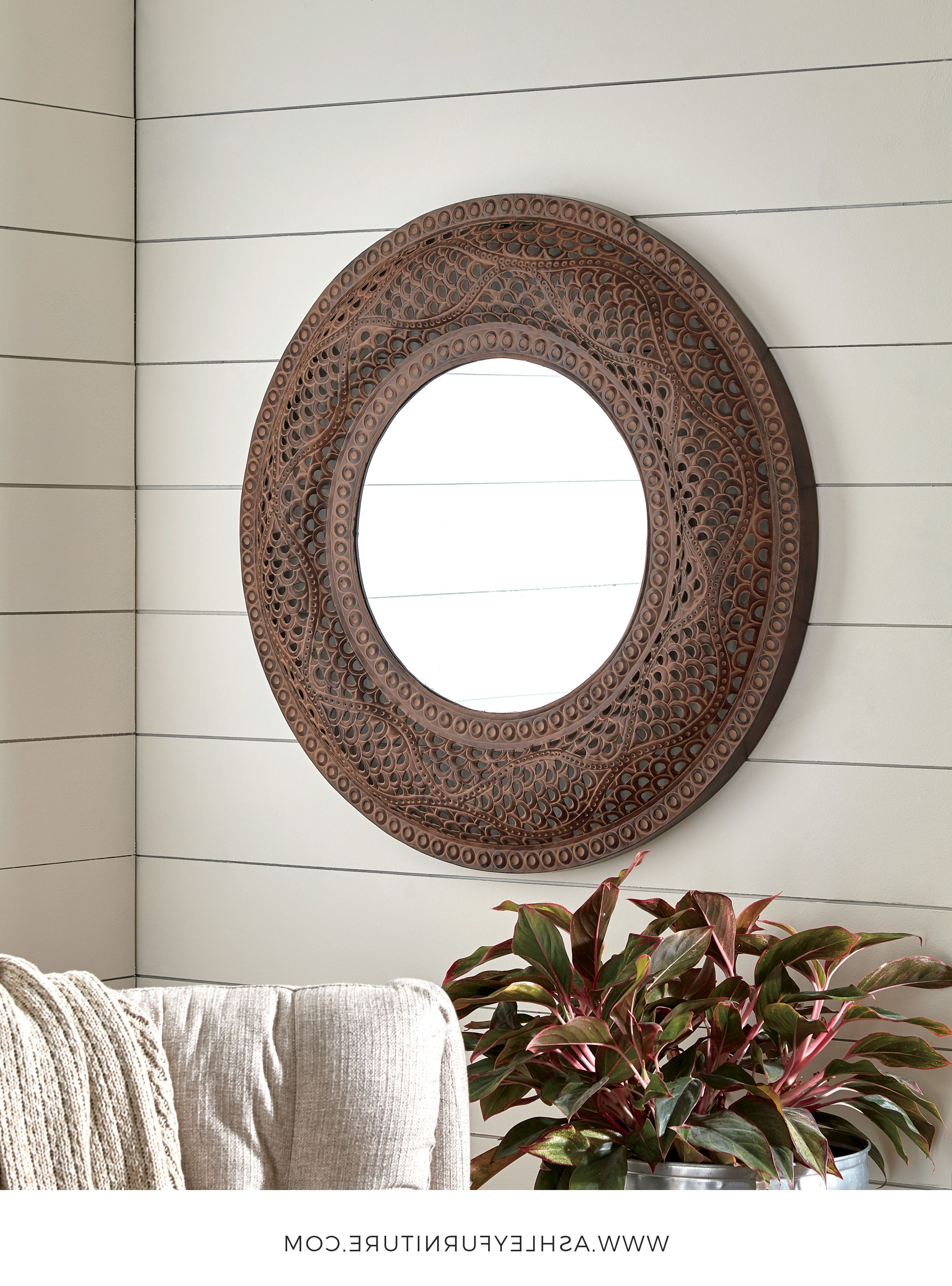 Elikapeka Antique Brown Wall Mirrorashley Furniture Within Most Popular Ogier Accent Mirrors (View 19 of 20)