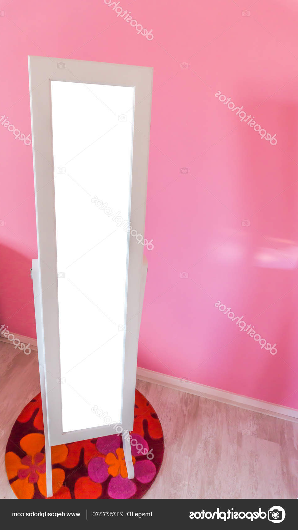 Empty Blank Mirror Standing Little Princess Girls Room Pink Wall With Recent Girls Pink Wall Mirrors (Gallery 10 of 20)