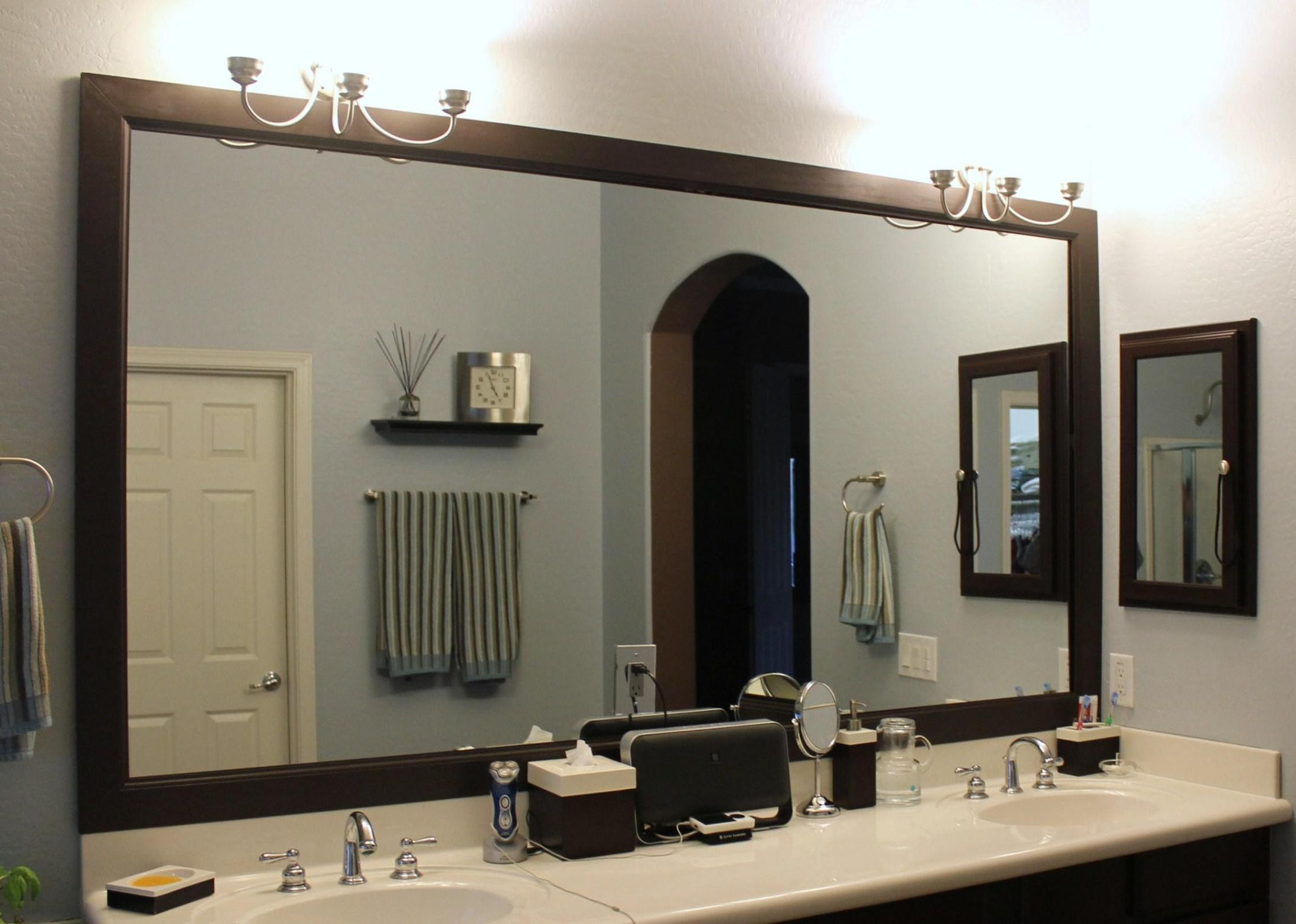 Engaging Wood Frame Ledge Round Wall Mirror Smoke Modern Elements Throughout Newest Frames For Bathroom Wall Mirrors (Gallery 5 of 20)