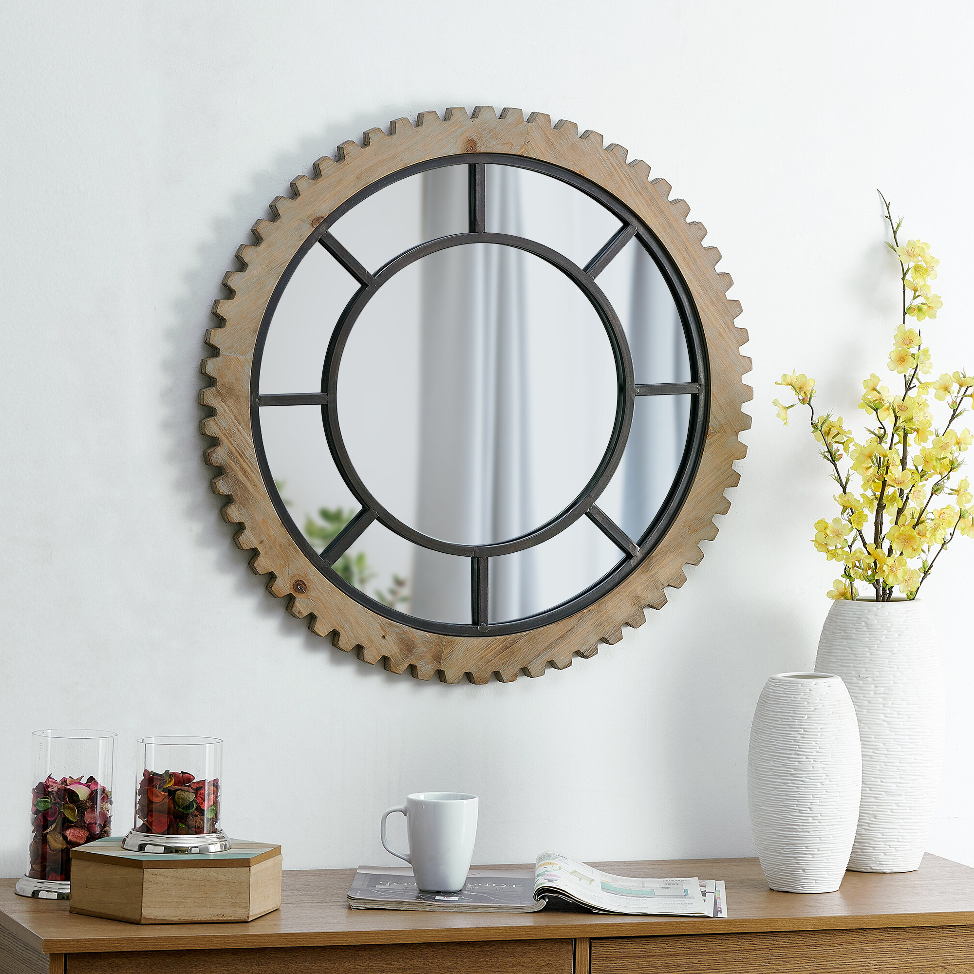 Enos Gear Mirror Industrial Accent Mirror Pertaining To Best And Newest Ogier Accent Mirrors (Gallery 10 of 20)