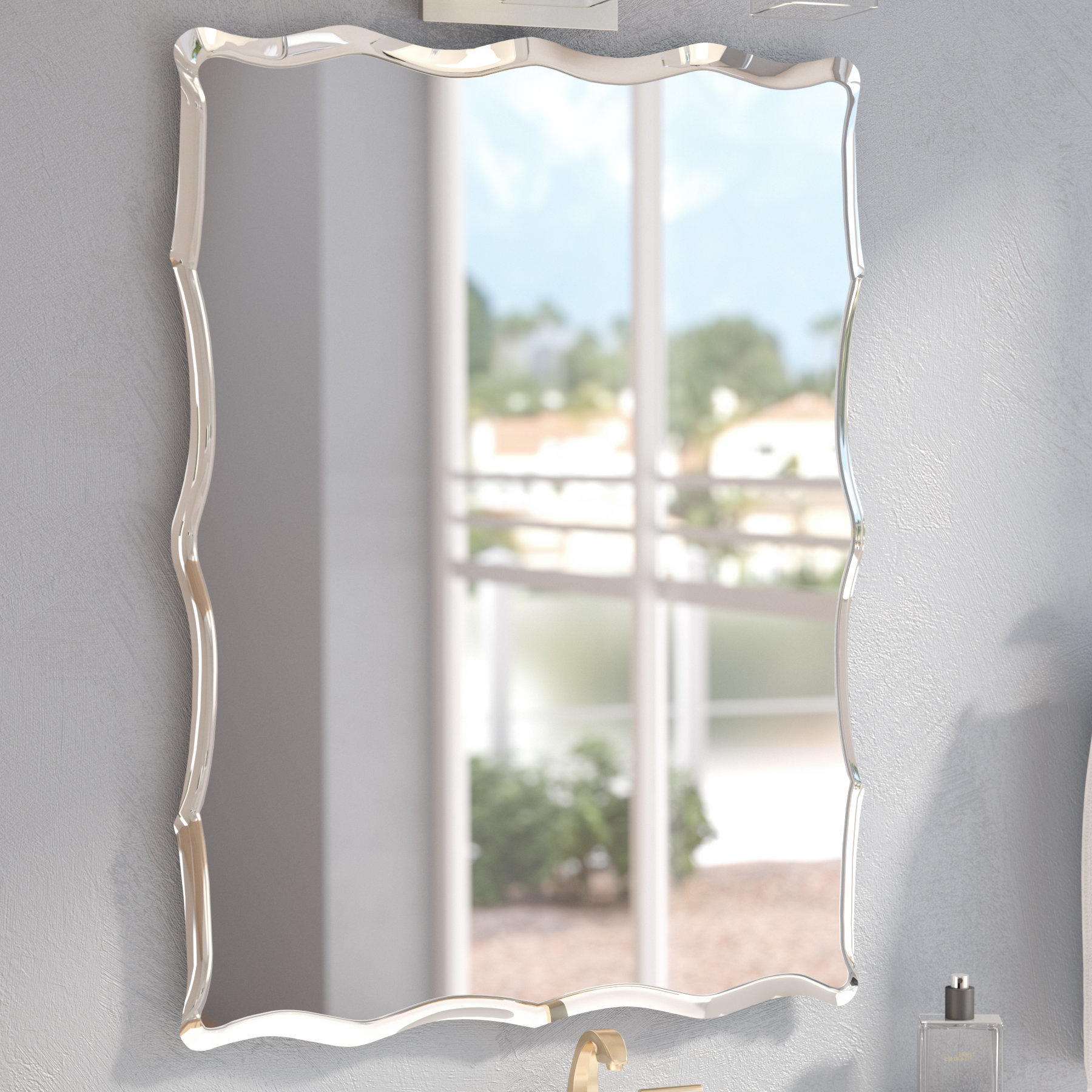 Estefania Frameless Wall Mirror With Newest Estefania Frameless Wall Mirrors (View 7 of 20)