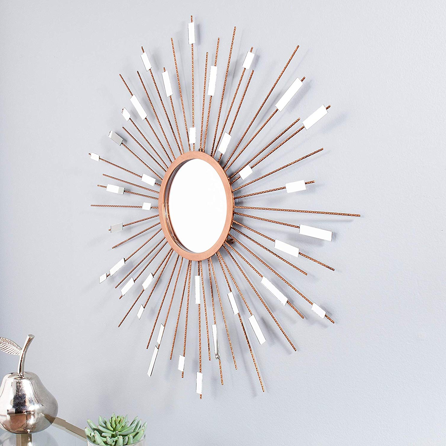 Estrela Modern Sunburst Metal Wall Mirrors In Newest Mid Century Modern Sunburst Mirrored Wall Sculpture (View 6 of 20)