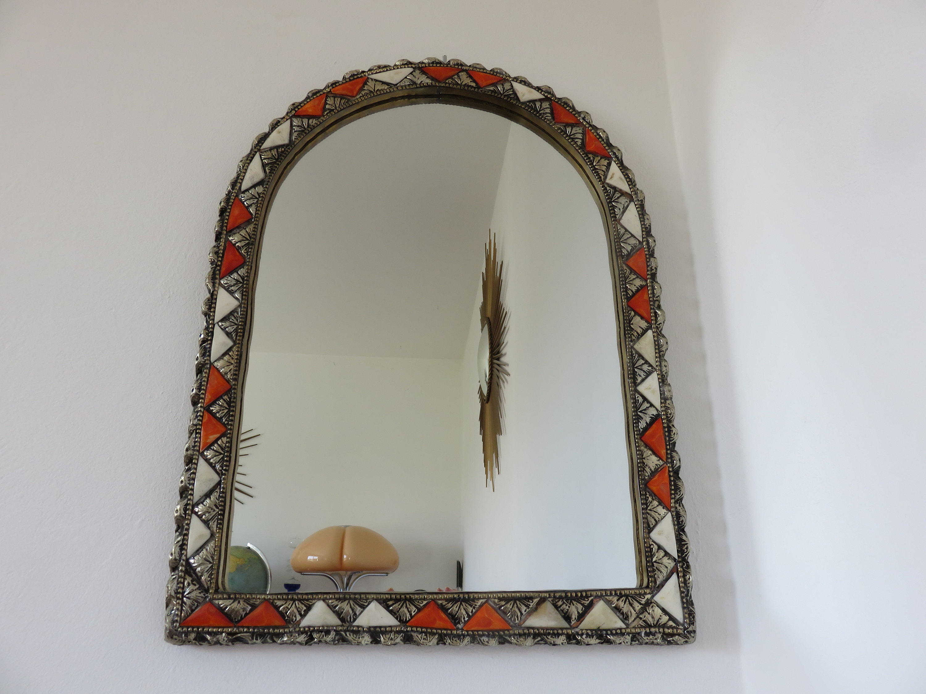 Ethnic Moroccan Oriental Wall Mirror With Mid Century Inlays 1960 1970 60's  70's Vintage Old Mirror Mirror Moroccan Oriental Intended For Popular Ethnic Wall Mirrors (View 4 of 20)