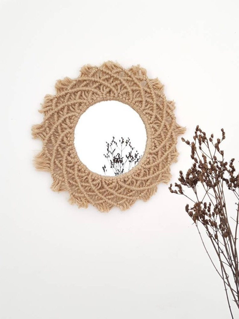 Ethnic Wall Mirrors For Best And Newest Jute Cord, Macrame Ethnic Wall Mirror Round Mirror (View 6 of 20)