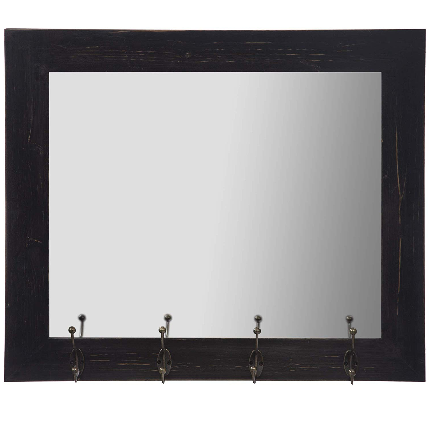 Everly Hart Collection Rustic Black Entryway Wall Mount Hooks Mirrors For Well Known White Wall Mirrors With Hooks (View 10 of 20)