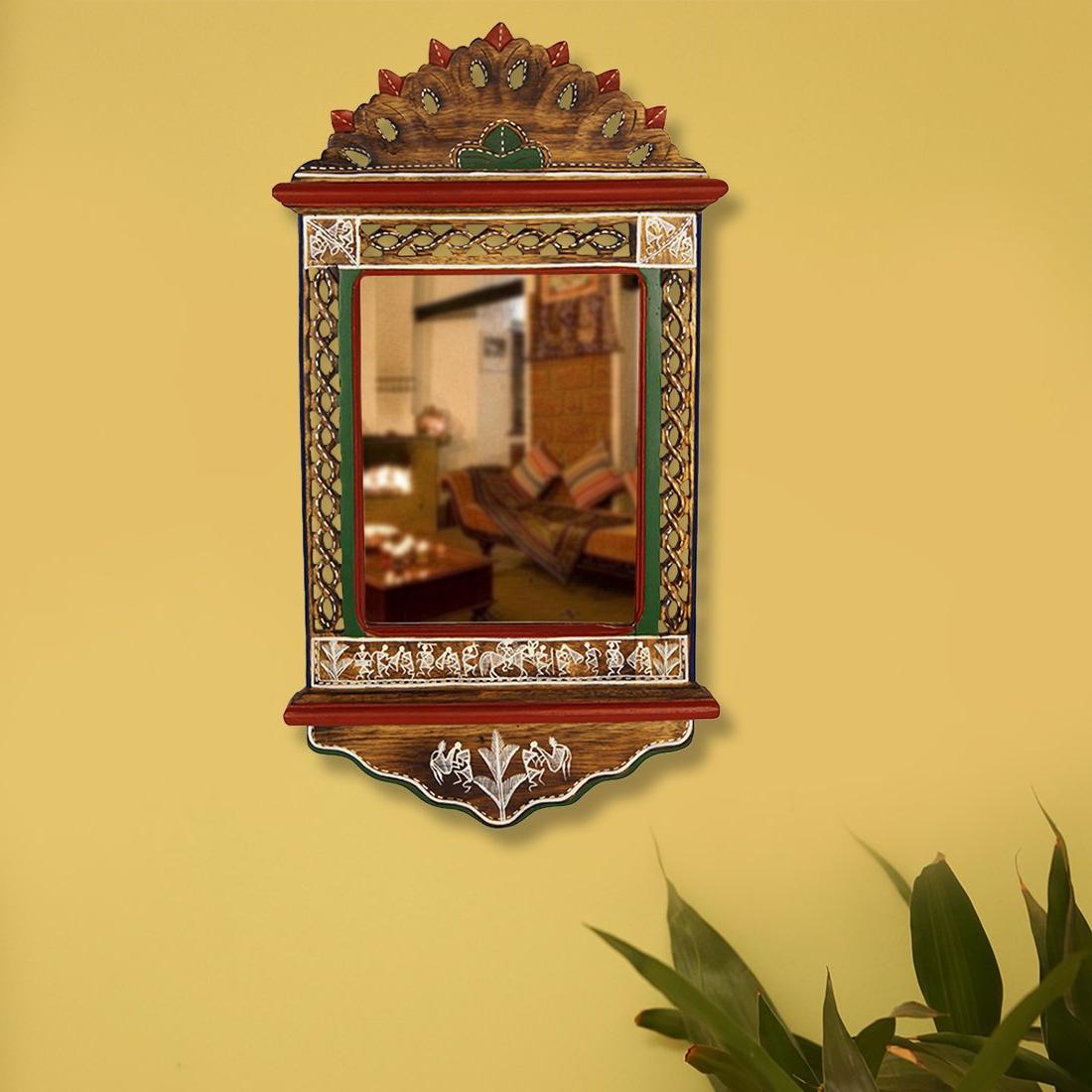 Exclusivelane Ethnic Wall Mirror With Warli Art: Amazon.co (View 17 of 20)