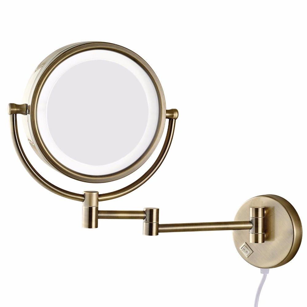 Extending Wall Mirrors For Popular Gurun Bath Wall Makeup Mirror With Led Lights And 10x Magnifying Dual Extend Arm Folding Shaving Mirrors Dual Sided Antique (View 13 of 20)