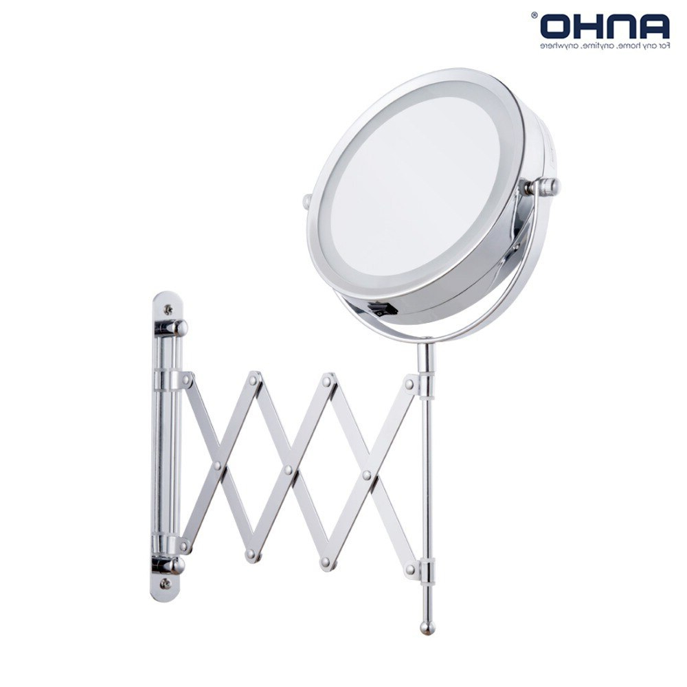 Extending Wall Mirrors Inside Well Liked Led Makeup Mirror Bath Mirror Magnification Wall Mounted Adjustable  Cosmetic Mirror Dual Arm Extend 2 Face Bathroom Mirror 3X (View 9 of 20)