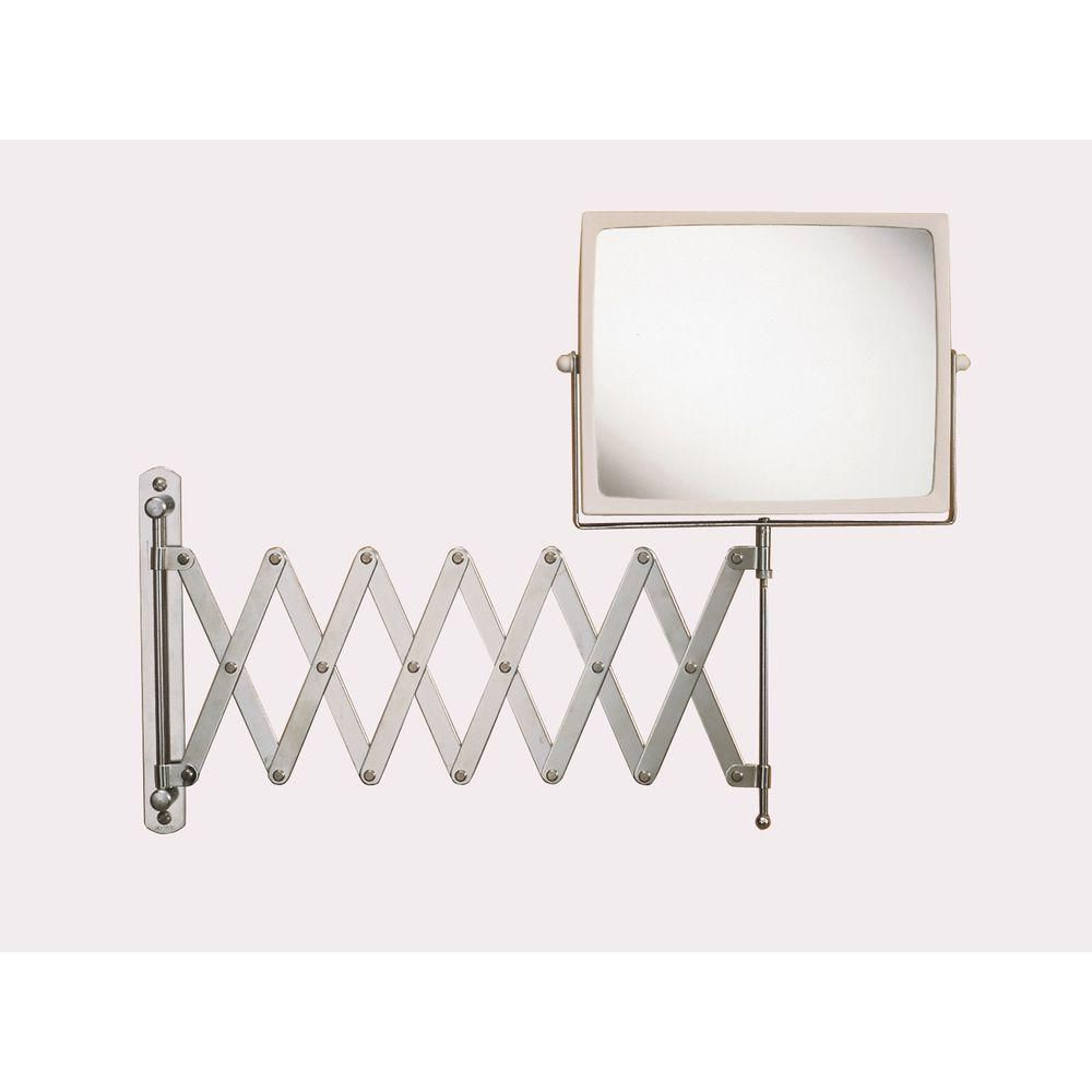 Extension Arm Wall Mirrors Intended For 2020 Jerdon 8 In. X 7 In. Wall Mount Hind Sight Makeup Mirror In Chrome (Gallery 5 of 20)