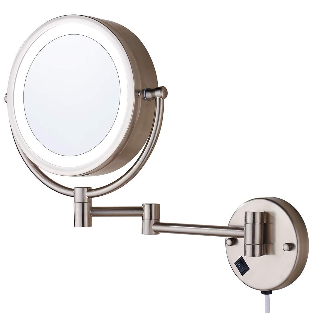 """Extension Arm Wall Mirrors Intended For Preferred Cavoli Wall Mounted Makeup Mirror With Led Lighted 10X Magnification, 13""""  Extension Arm Magnifying (View 11 of 20)"""