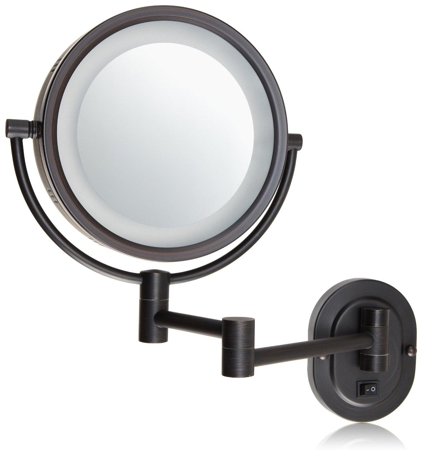 Extension Arm Wall Mirrors Pertaining To Most Up To Date Jerdon Hl65Bzd 8 Inch Lighted Direct Wire Wall Mount Makeup Mirror With 5X  Magnification, Bronze Finish (View 12 of 20)