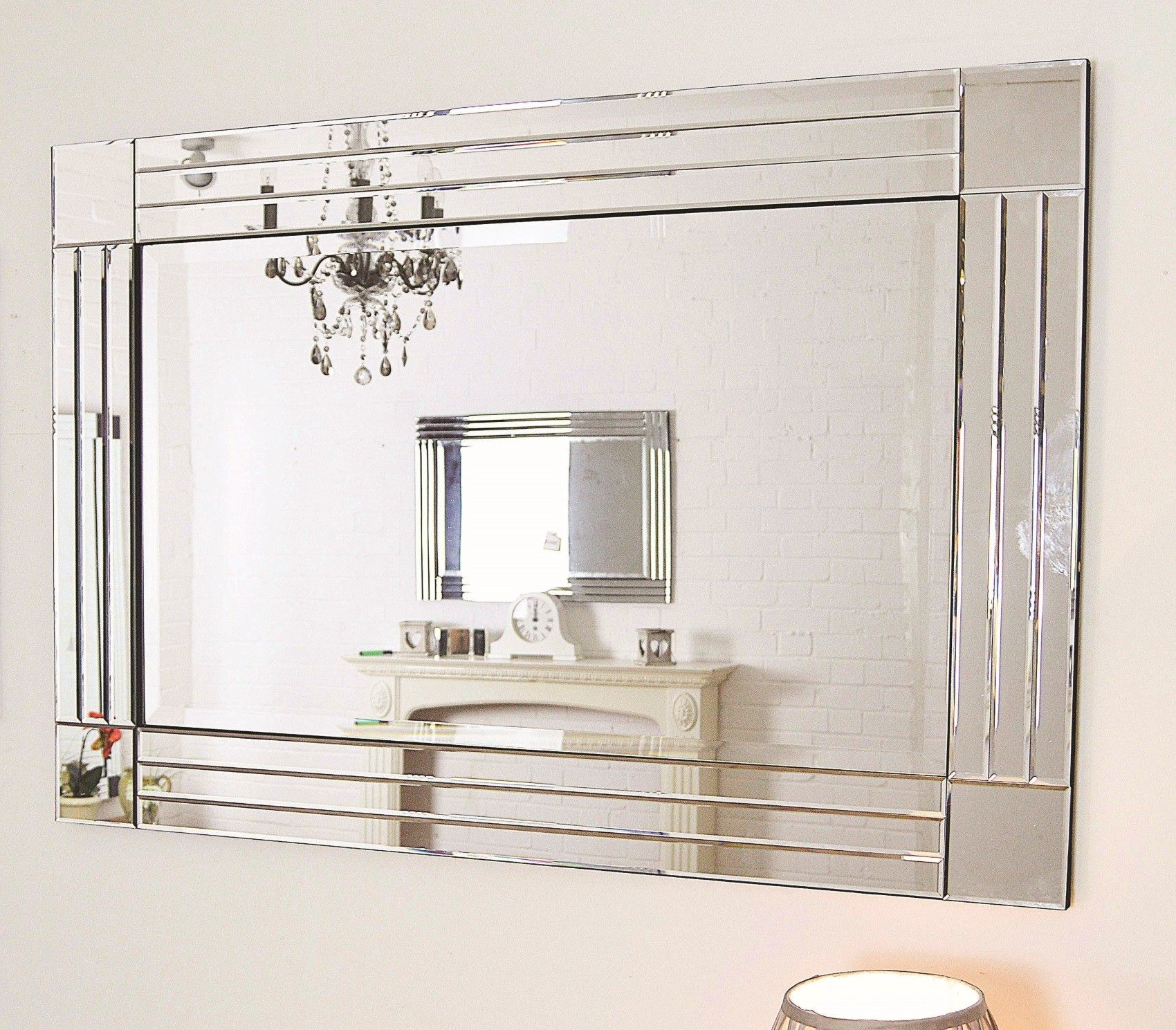 Extra Large Bevelled Edge Wall Mirrors With Best And Newest Large Silver Triple Bevelled Edge Venetian Wall Mirror 3ft11 X 2ft (View 3 of 20)
