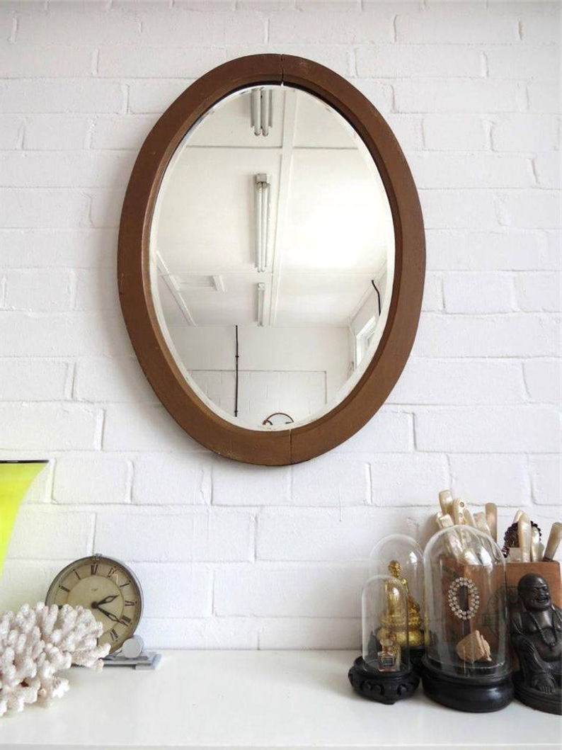 Extra Large Bevelled Edge Wall Mirrors With Newest Vintage Large Oval Bevelled Edge Wall Mirror With Wood Art Deco Golden Frame (View 4 of 20)