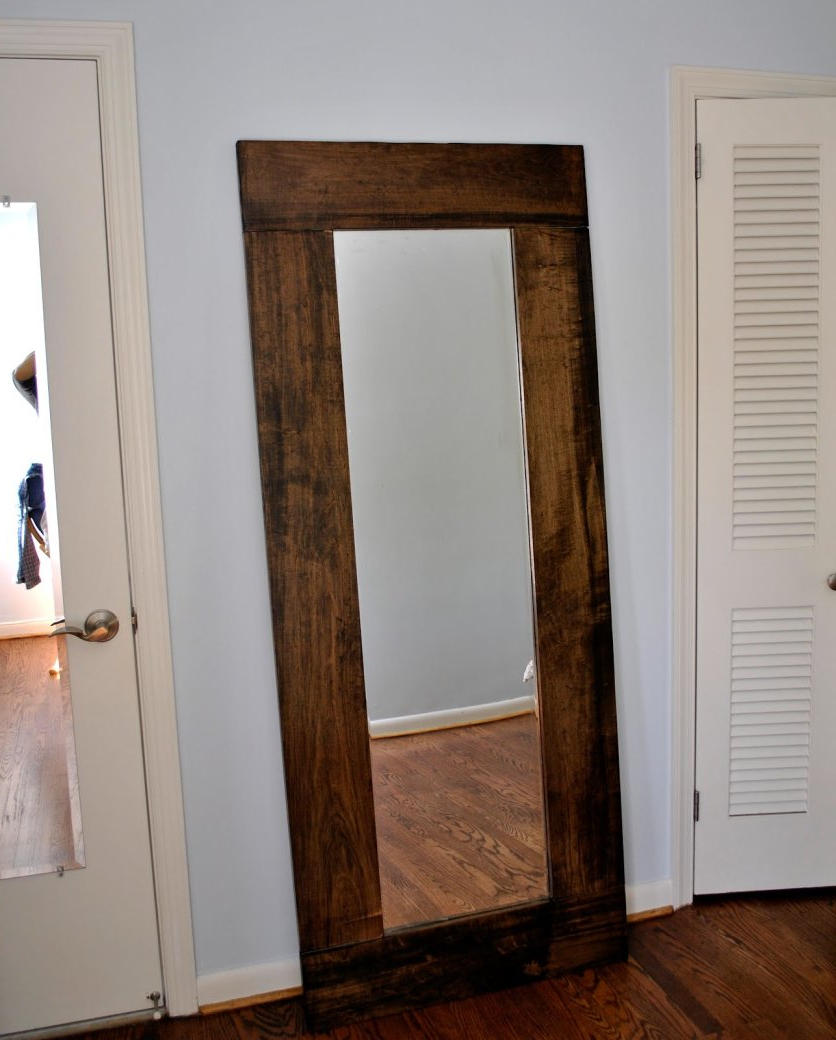 Extra Large Framed Wall Mirrors Inside Trendy Leaned Wooden Framed Wall Mirror In Extra Large. Part Of Furniture (Gallery 8 of 20)