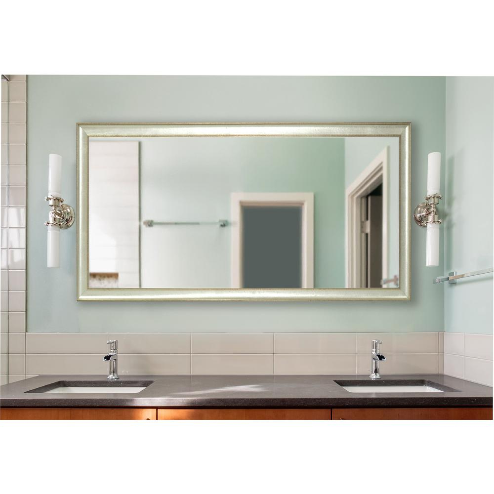 Extra Large Wall Mirrors With Most Recent 70.5 In. X 37.5 In. Vintage Silver Extra Large Non Beveled Vanity Mirror (Gallery 19 of 20)