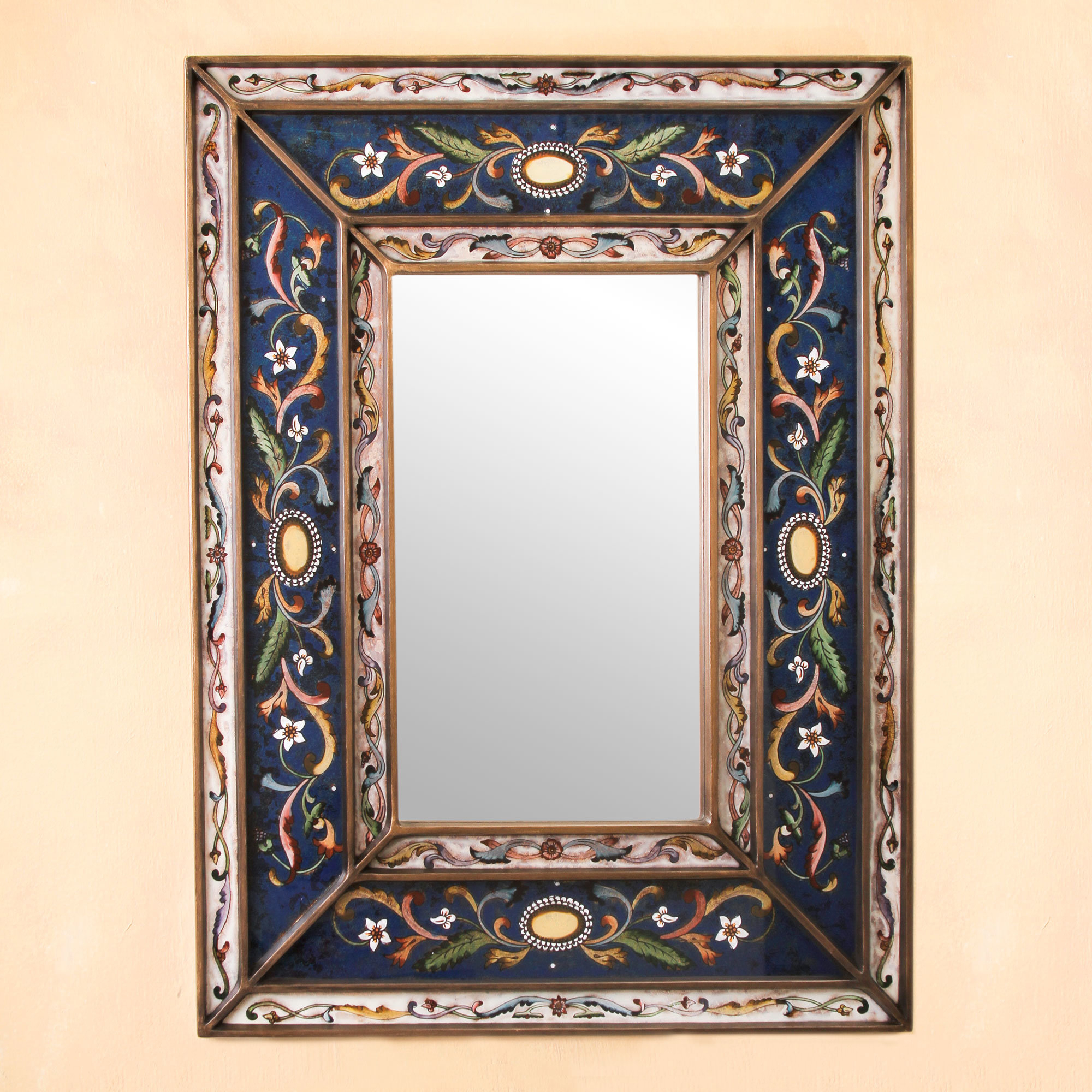 Fair Trade Floral Themed Hand Painted South American Hanging Rectangle Wall Mirror Throughout Well Known Hand Painted Wall Mirrors (View 14 of 20)