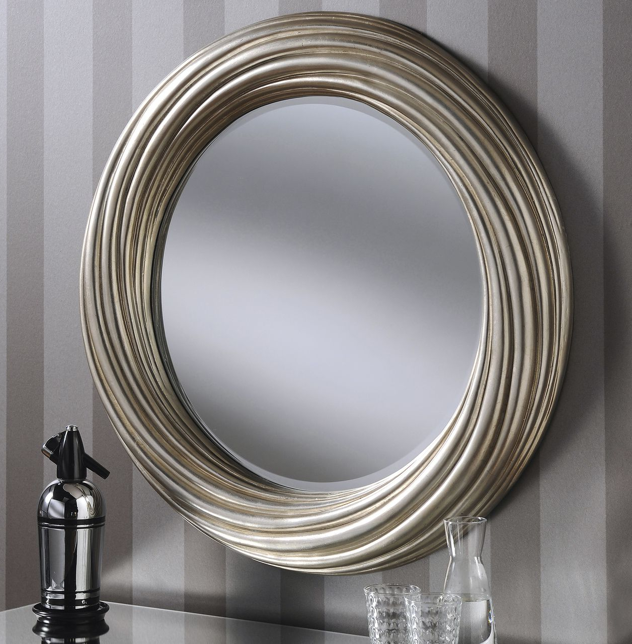Famous Adele Large Round Modern Wall Mirror Silver Frame Art Deco Regarding Modern Round Wall Mirrors (View 5 of 20)