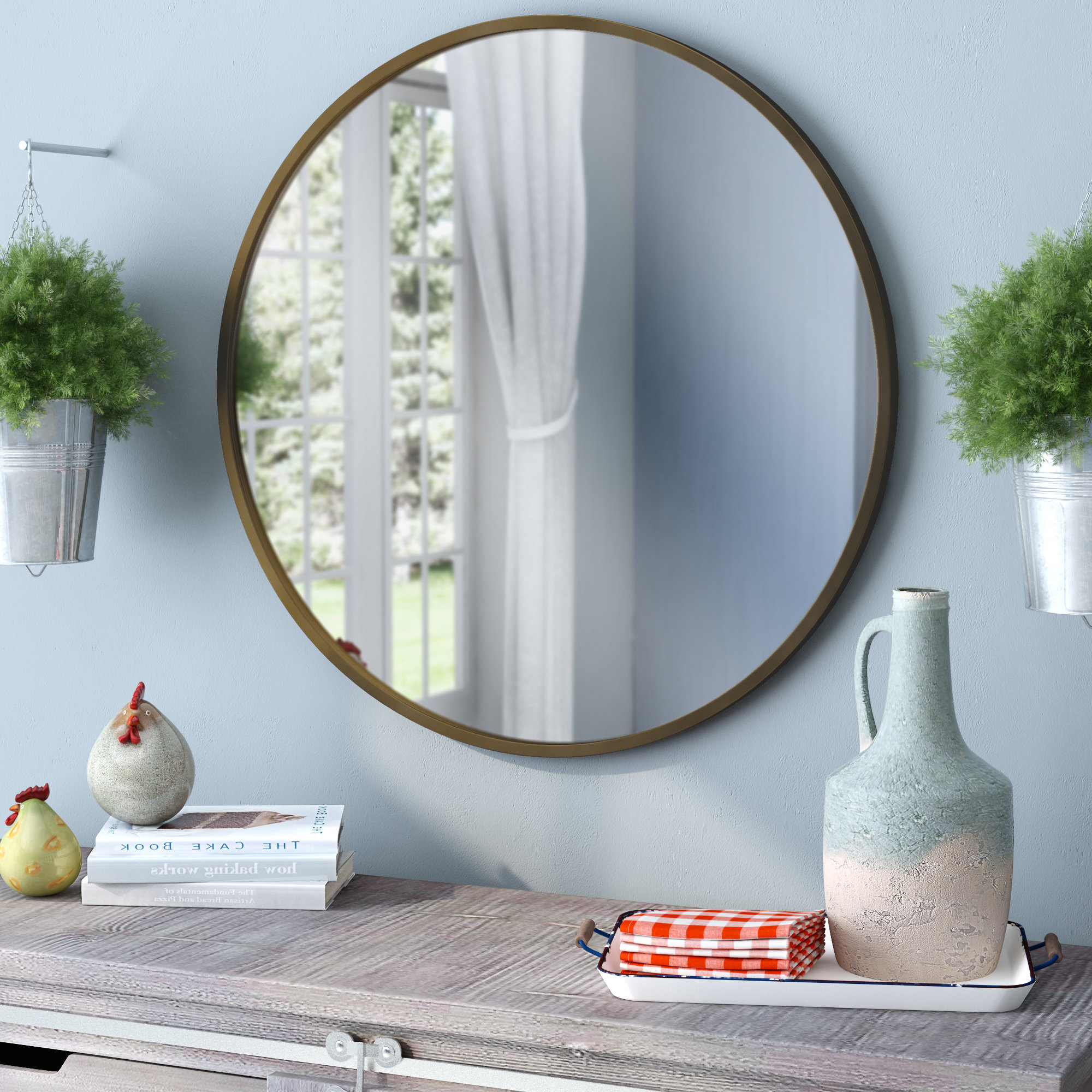 Famous Angie Round Modern & Contemporary Accent Mirror Throughout Matthias Round Accent Mirrors (View 9 of 20)
