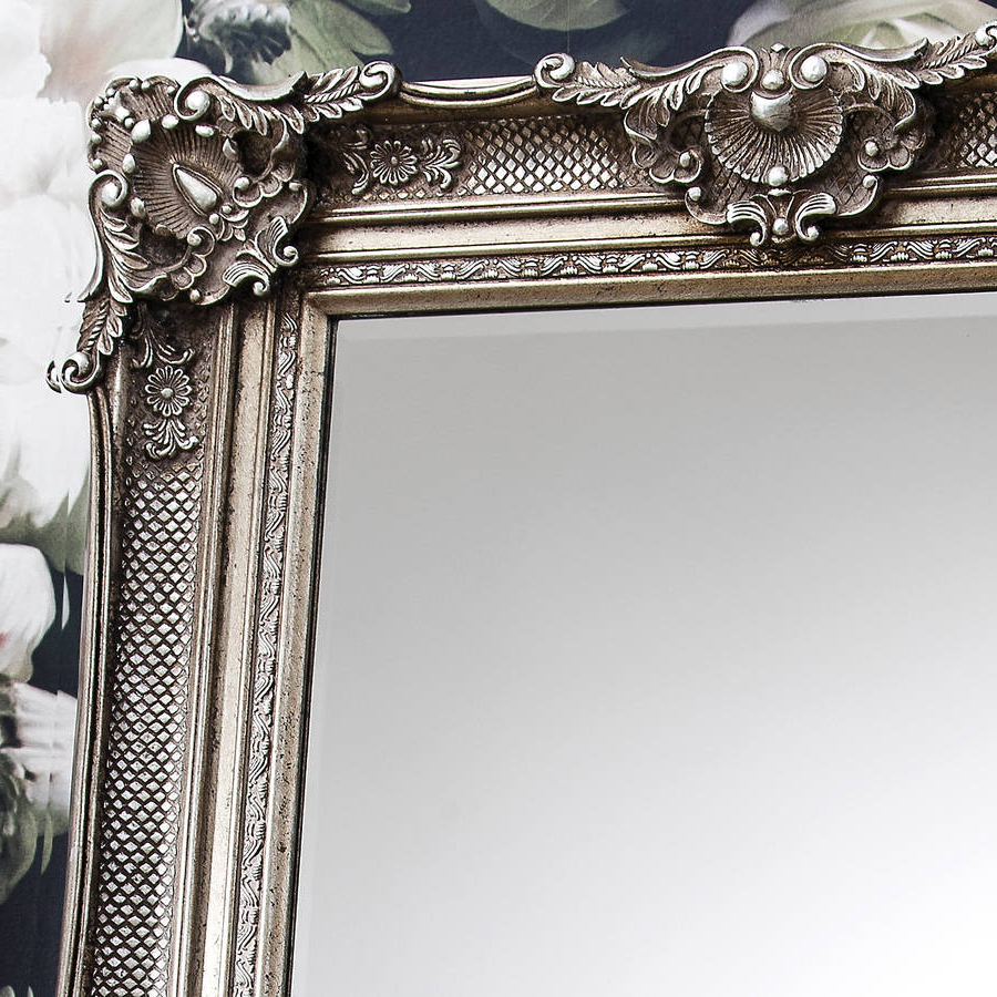 Famous Antique Silver Wall Mirrors In Ornate Antique Silver Wall Mirror (View 6 of 20)