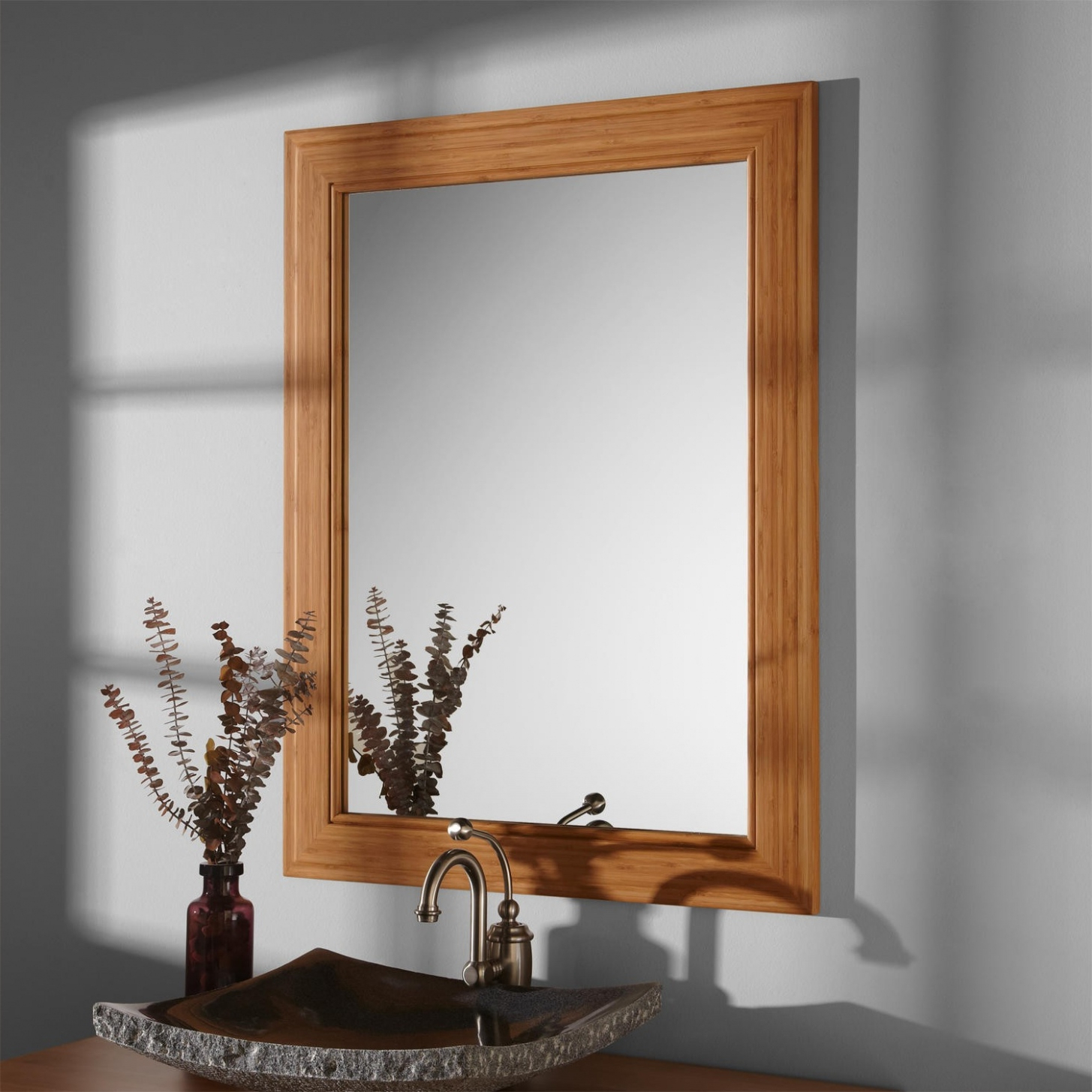 Famous Bamboo Framed Mirror — Rabbssteak House In Bamboo Framed Wall Mirrors (View 7 of 20)