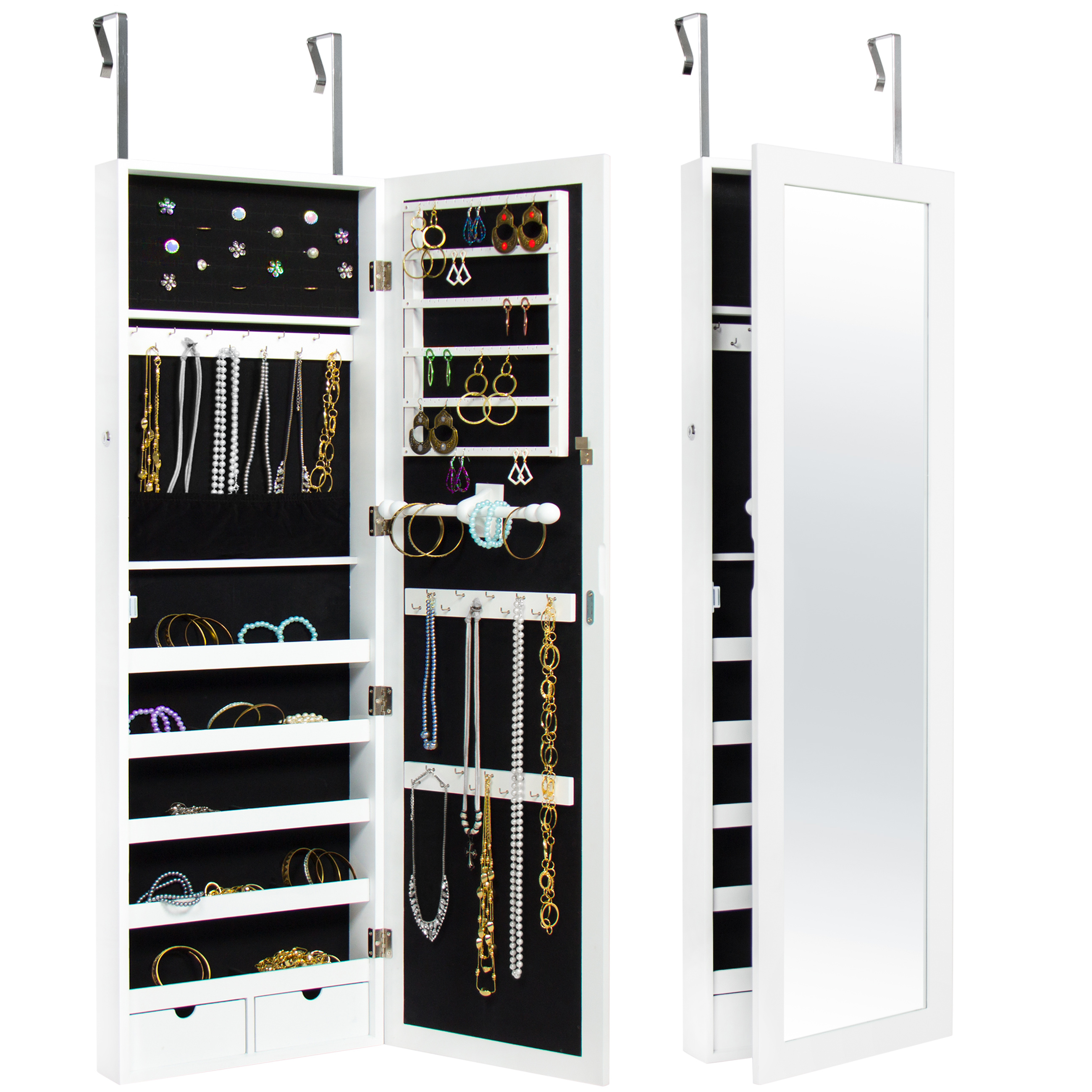 Famous Best Choice Products Mirrored Hanging Jewelry Cabinet Armoire Organizer  Over Door Wall Mount W/ Keys  White Within Jewelry Wall Mirrors (View 10 of 20)