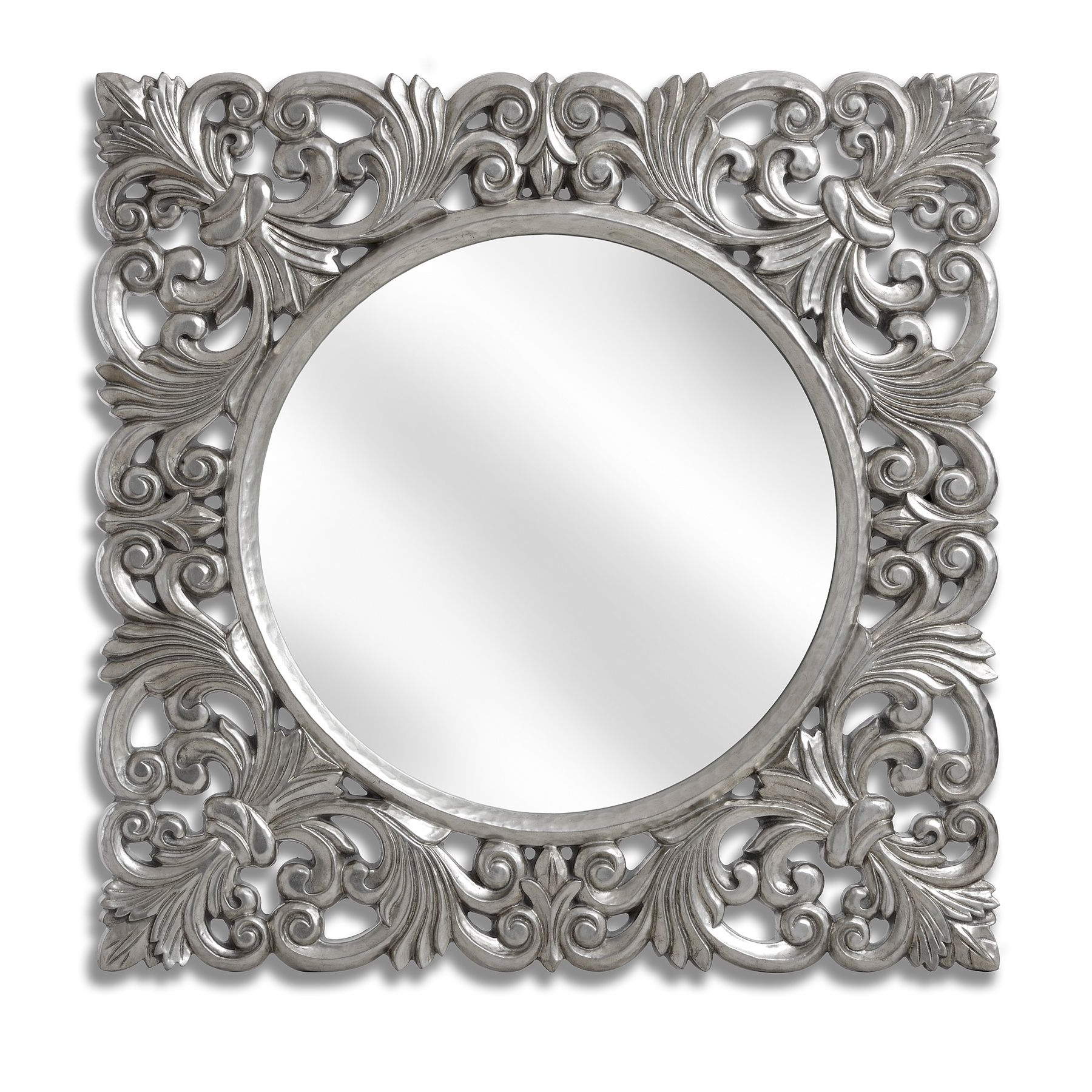 Famous Black And Silver Wall Mirrors Throughout Baroque Silver Wall Mirror (View 8 of 20)