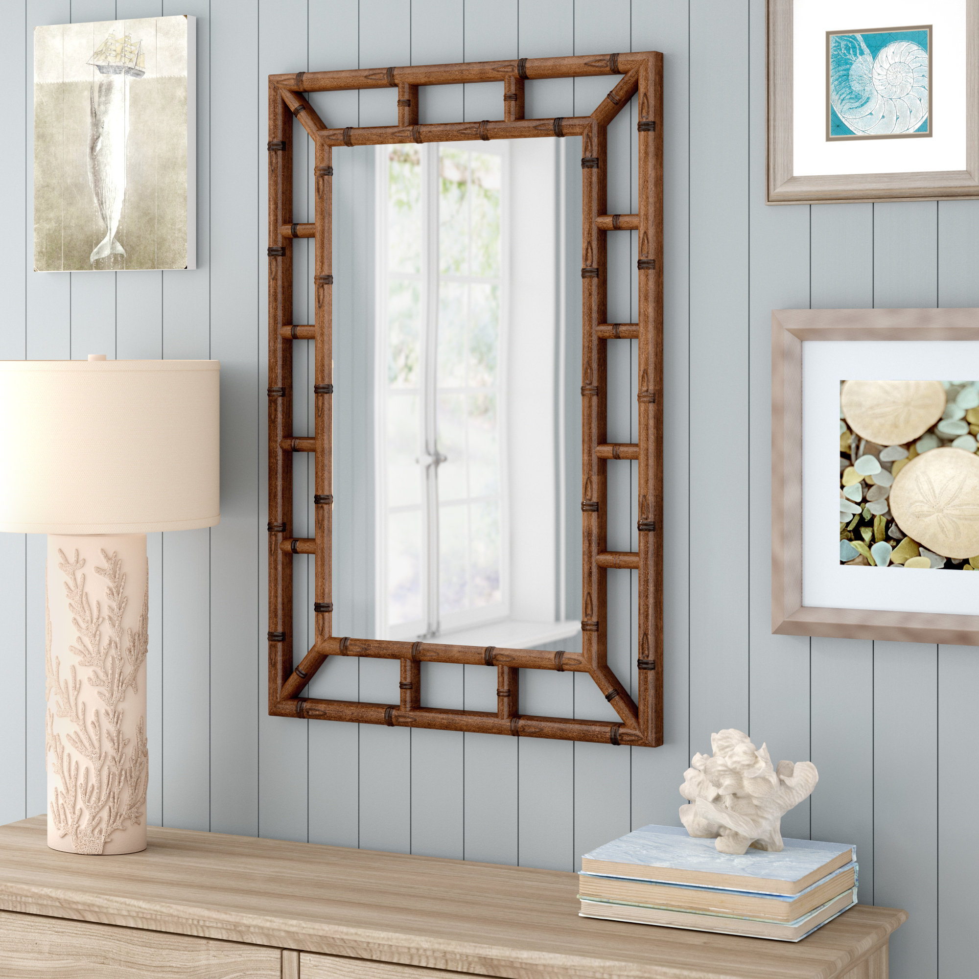 Famous Cleta Bamboo Brown Traditional Beveled Wall Mirror Inside Brown Wall Mirrors (View 3 of 20)