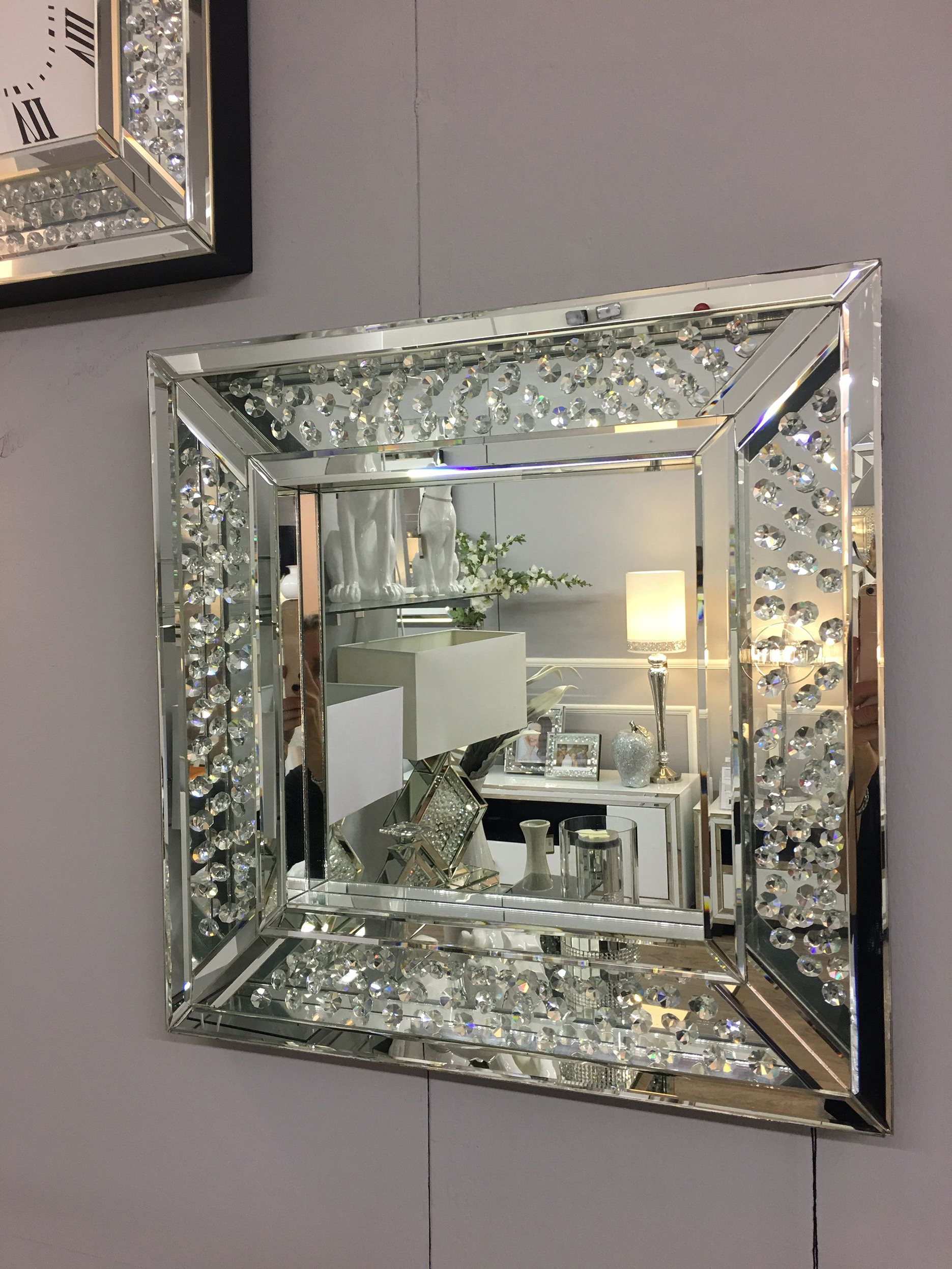 Famous Crystal Wall Mirrors Within Floating Crystal Square Wall Mirror In (View 11 of 20)