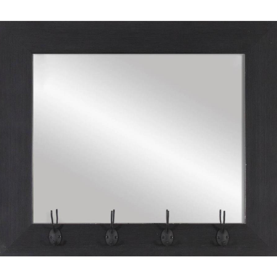 Famous Dark Wood Wall Mirrors In 22 In L X 26 In W Dark Wood Polished Wall Mirror At Lowes (View 8 of 20)