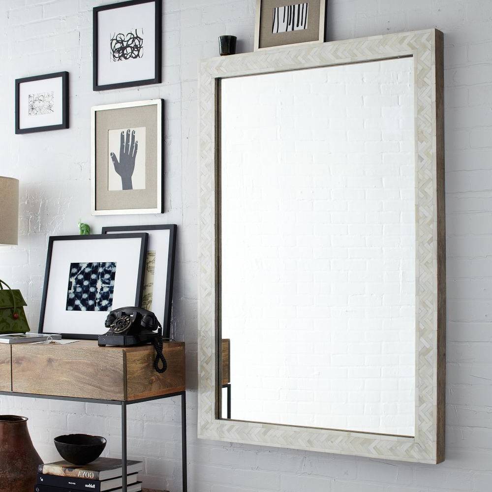 Famous Decoration, Rustic Narrow Console Table With Black Telephone And In Elegant Large Wall Mirrors (View 11 of 20)